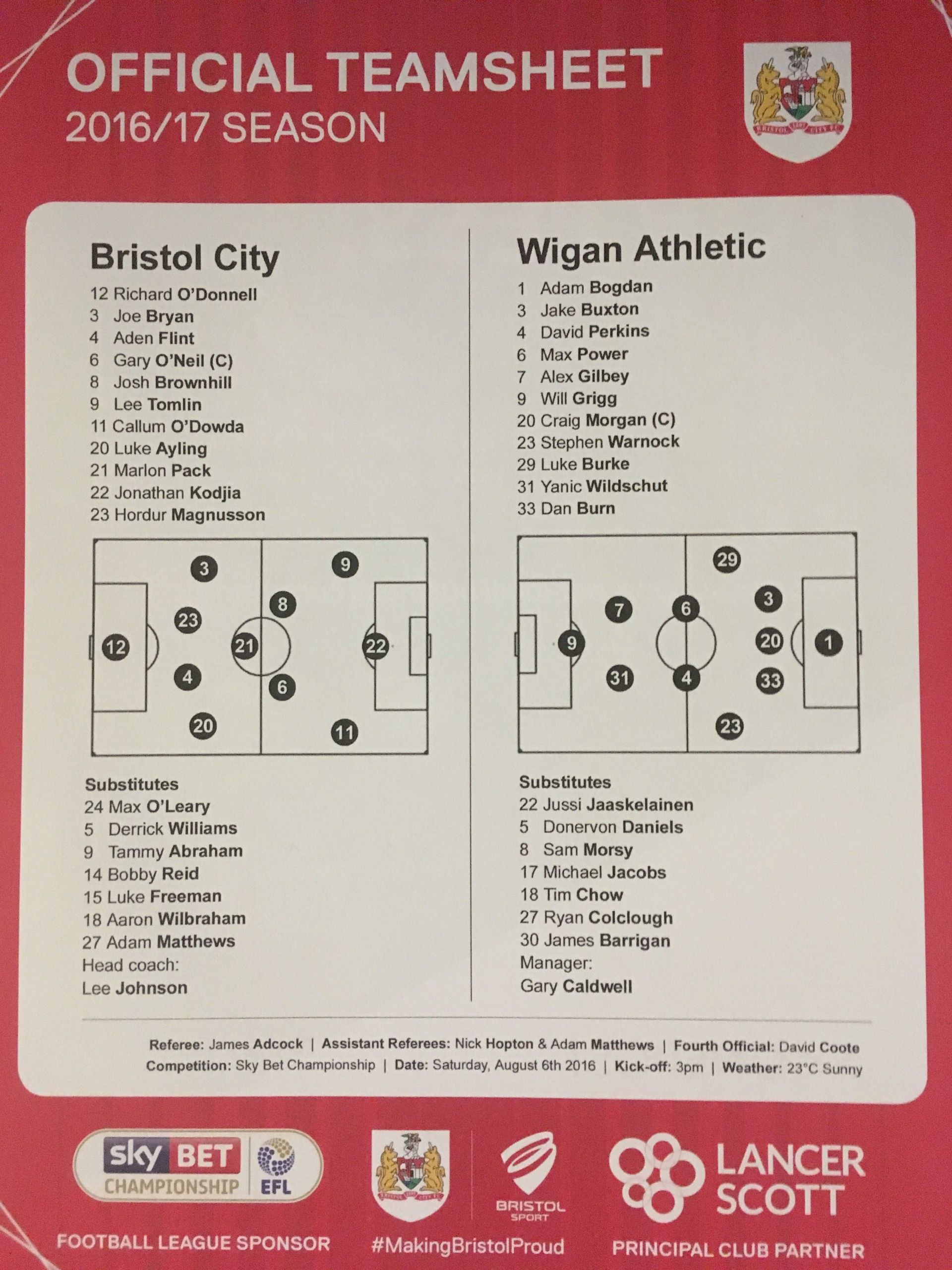 Bristol City v Wigan Athletic 06-08-2016 Team Sheet