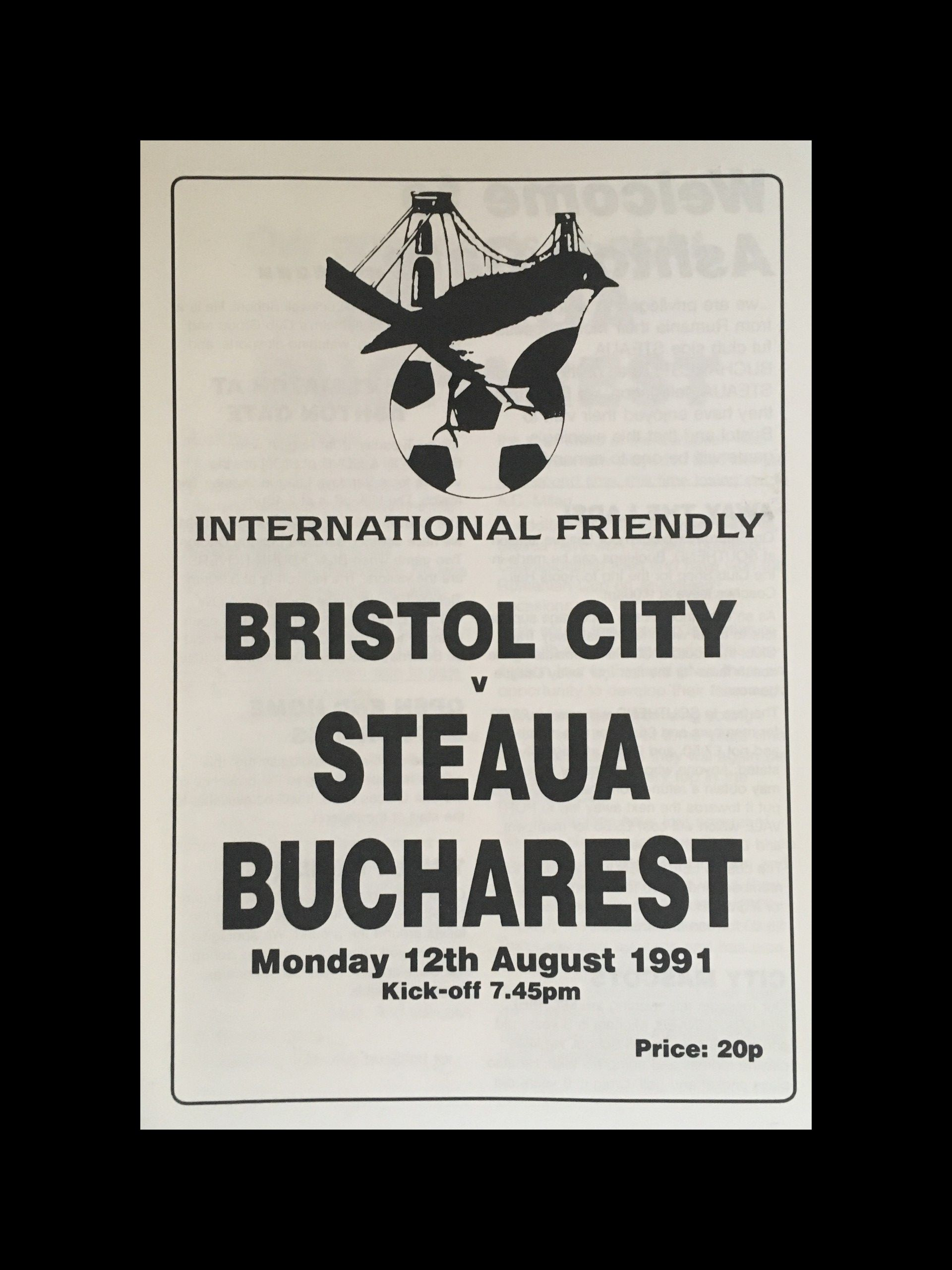 Bristol City v Steaua Bucharest 12-08-1991 Programme