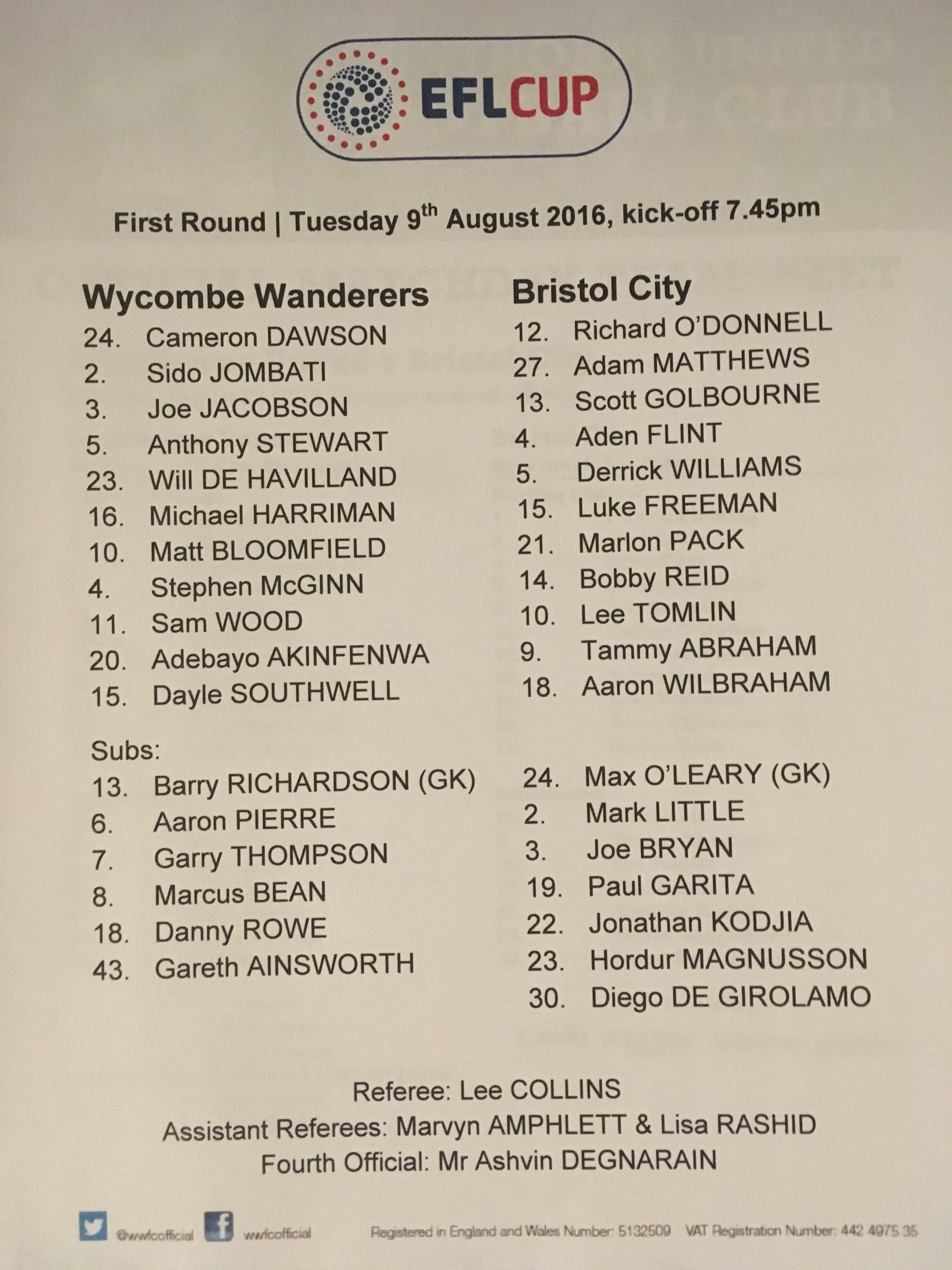 Wycombe Wanderers v Bristol City 09-08-2016 Team Sheet