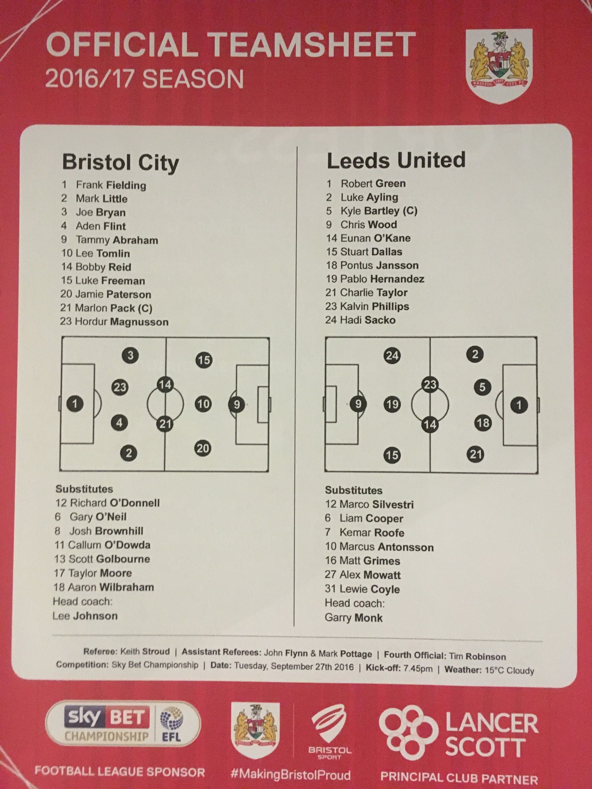 Bristol City v Leeds United 27-09-2016 Team Sheet