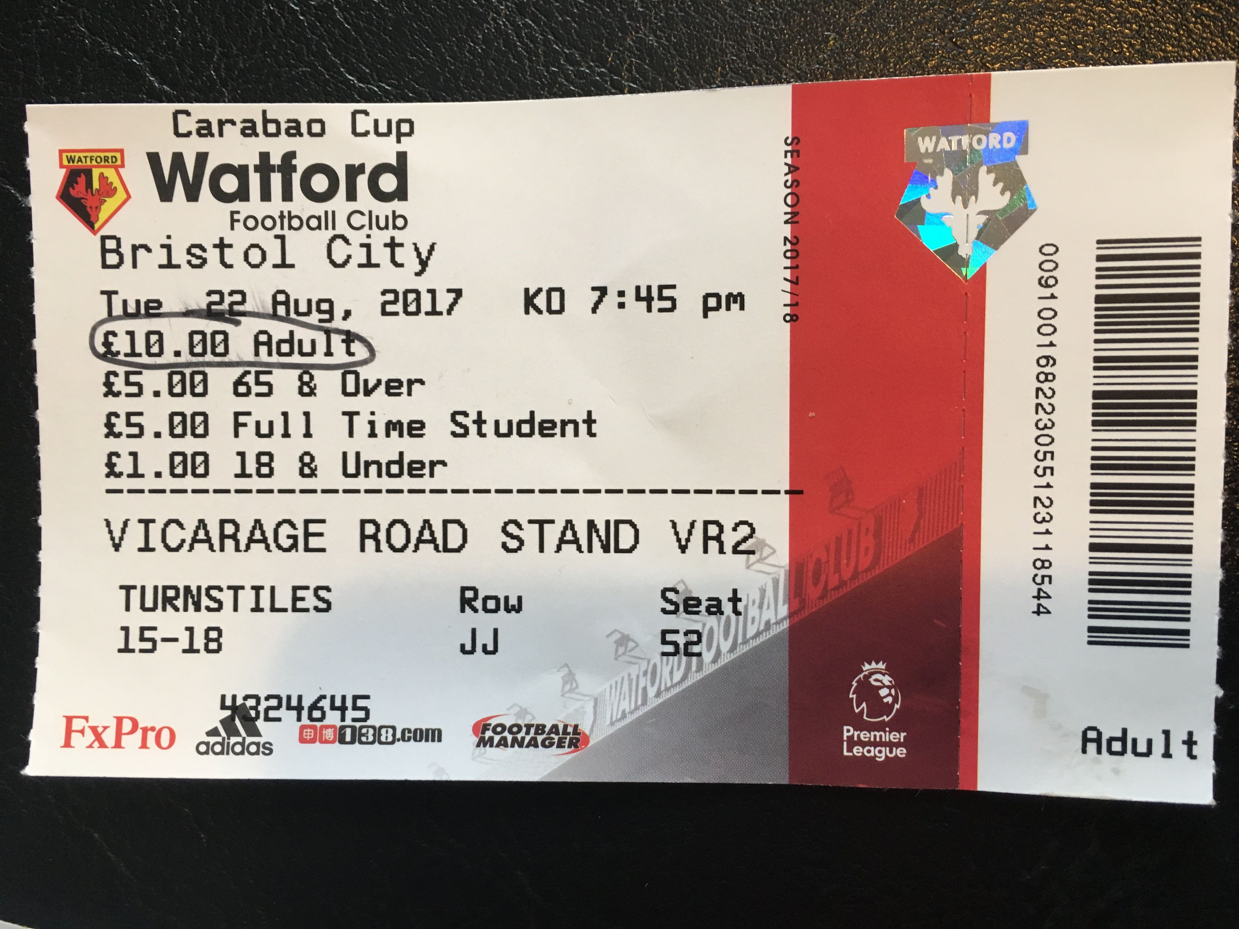 Watford v Bristol City 22-08-17 Ticket