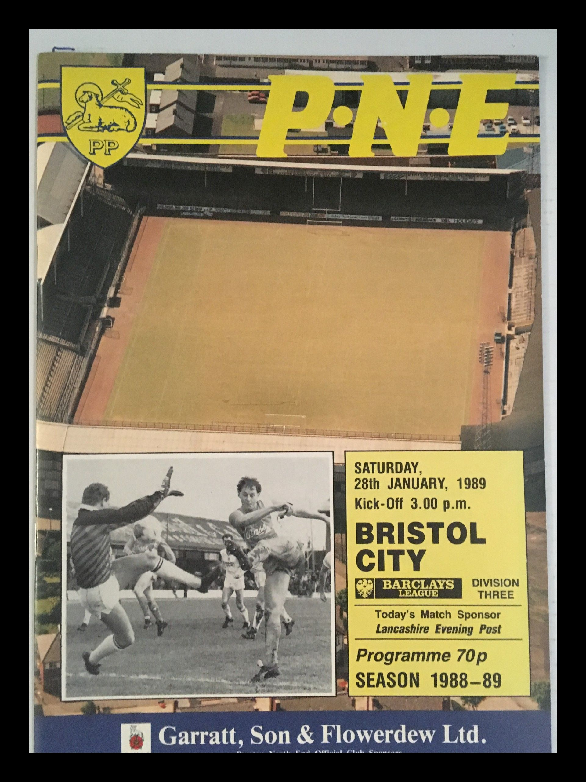 Preston North End v Bristol City 28-01-1989 Programme