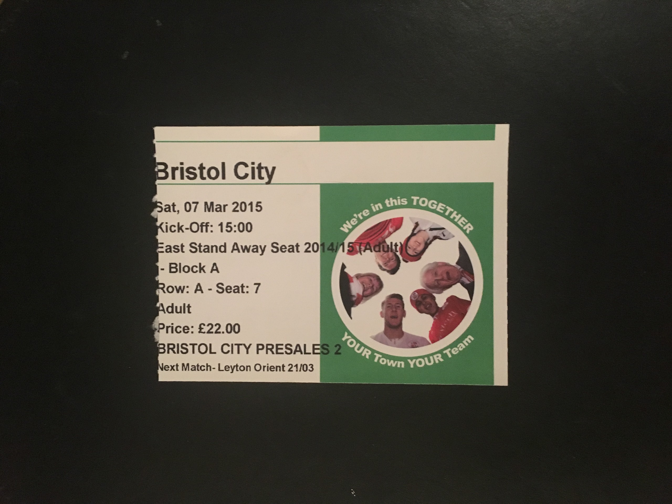 Crawley Town v Bristol City 07-03-2015 Ticket