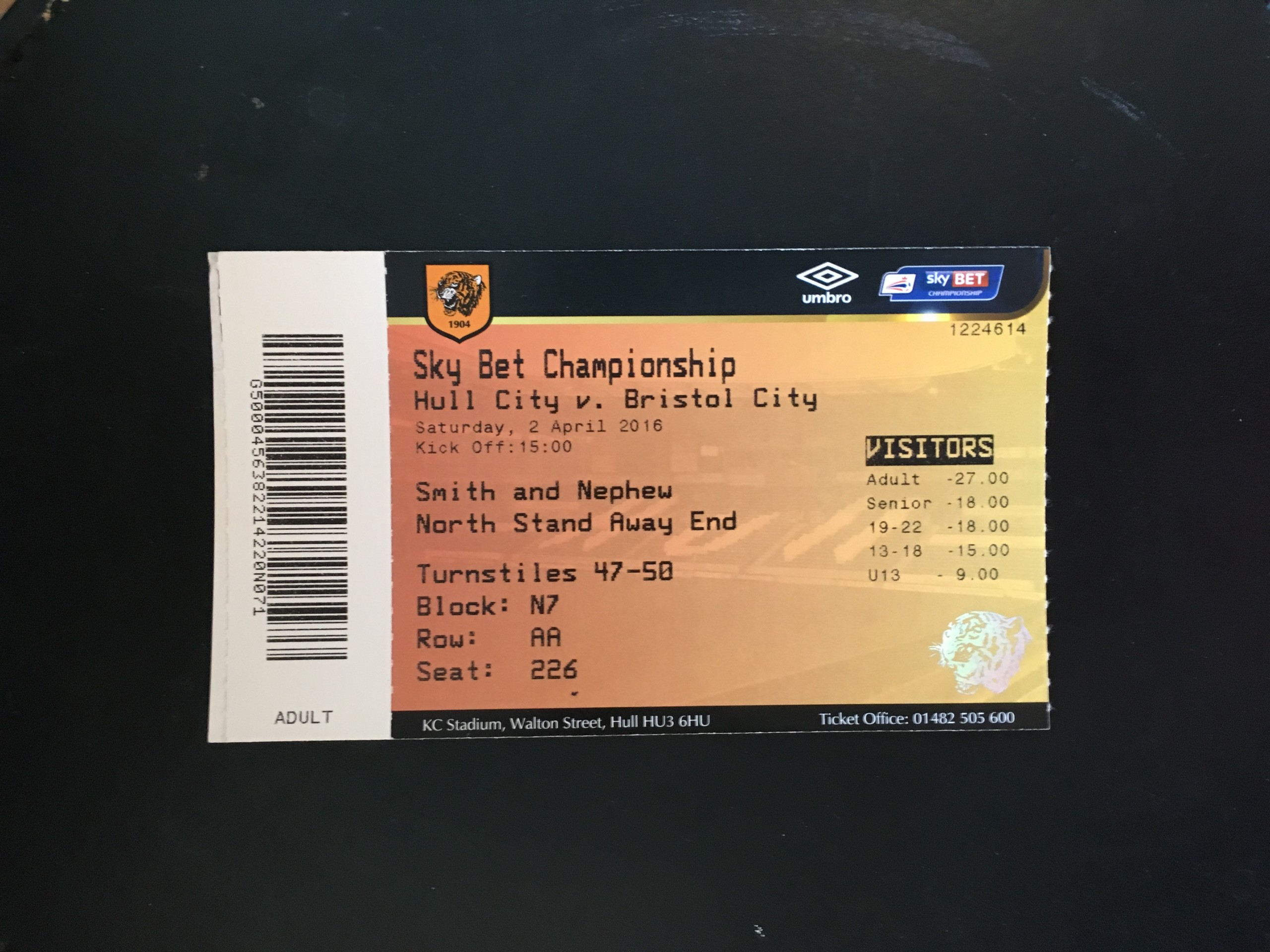 Hull City v Bristol City 02-04-2016 Ticket