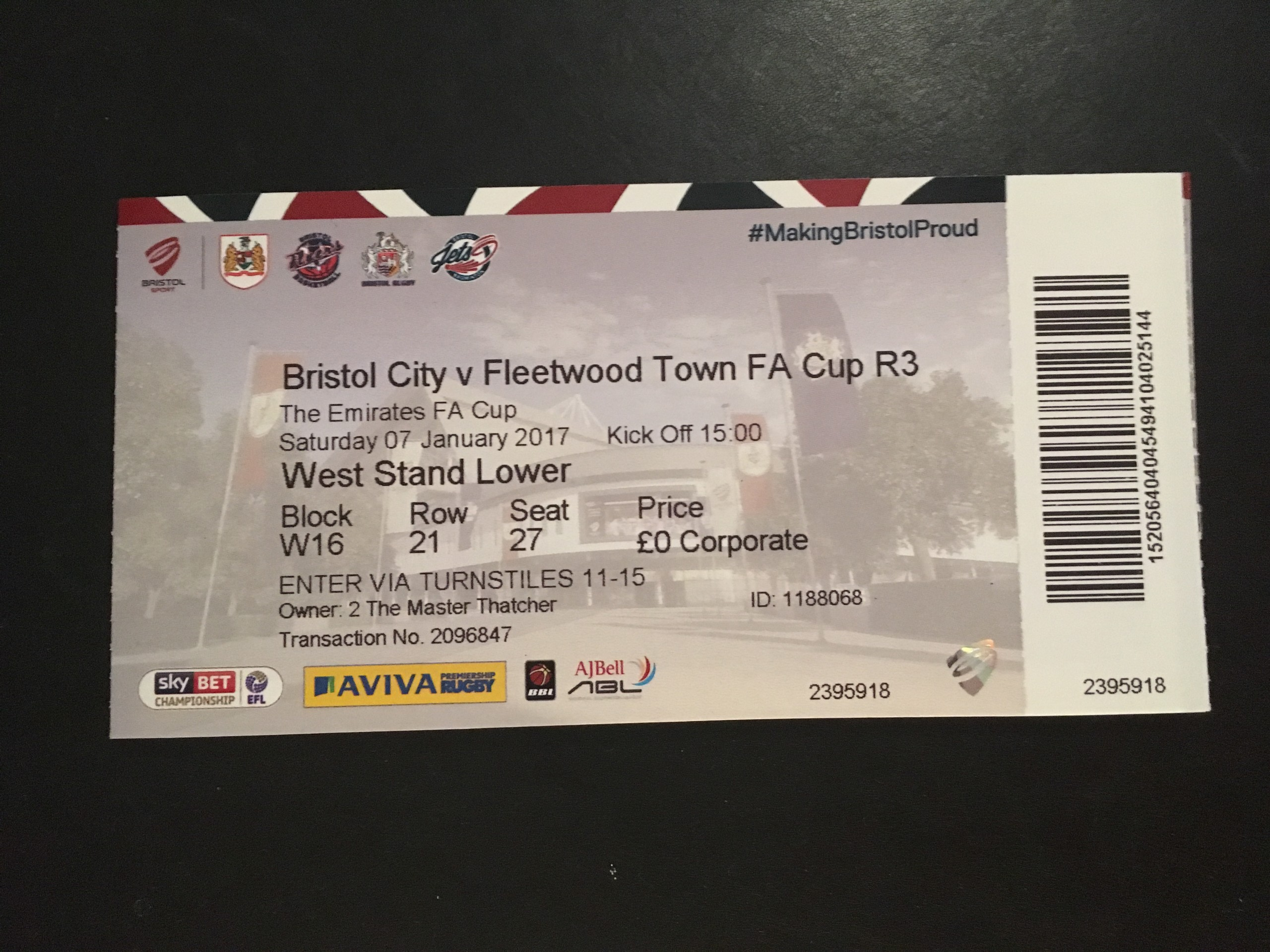 Bristol City v Fleetwood Town 07-01-2017 Ticket