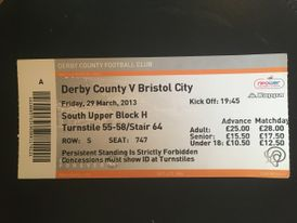 Derby County v Bristol City 29-03-13 Ticket