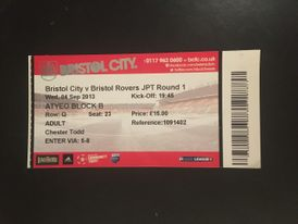 Bristol City v Bristol Rovers 04-09-2013 Ticket