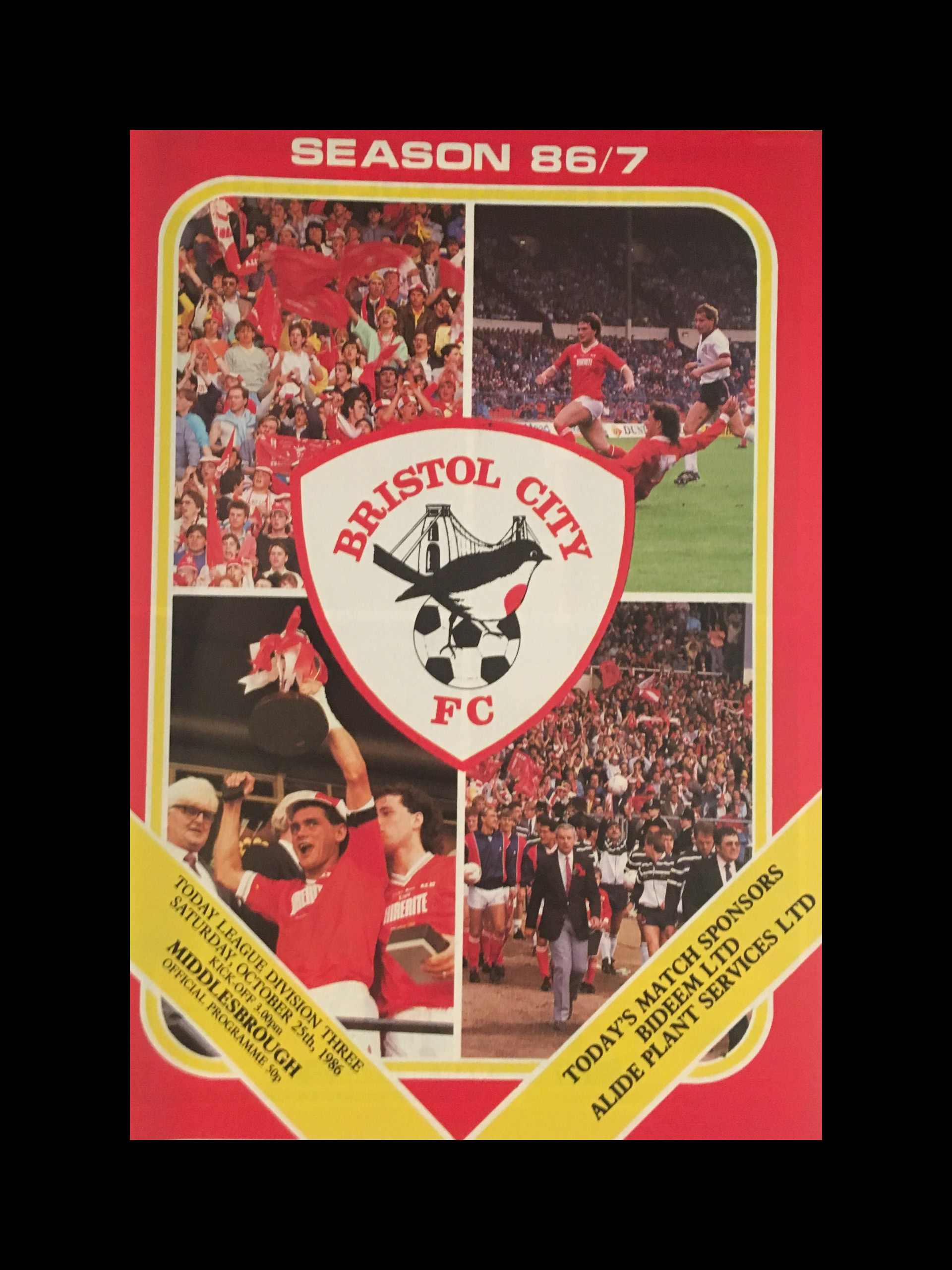 Bristol City v Middlesbrough 25-10-86 Programme