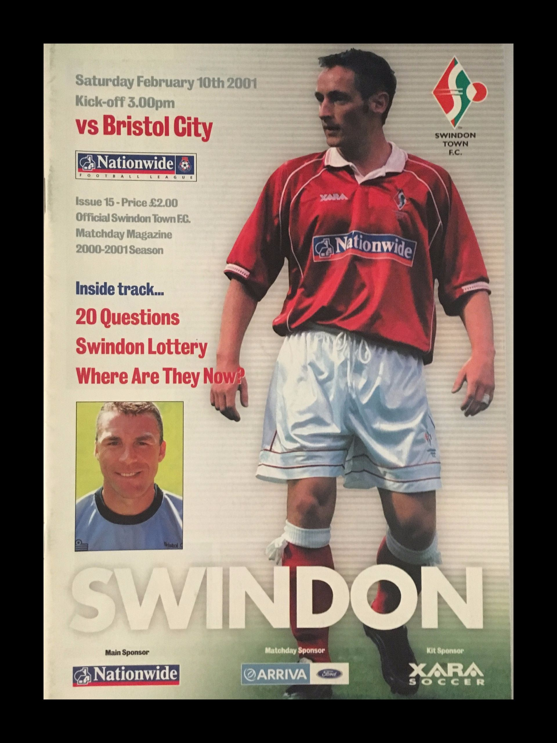 Swindon Town v Bristol City 10-02-2001 Programme