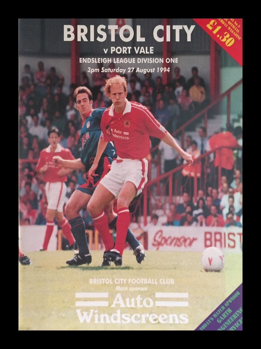 Bristol City v Port Vale 27-08-1994 Programme