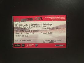 Bristol City v Dagenham & Redbridge 09-11-2013 Ticket