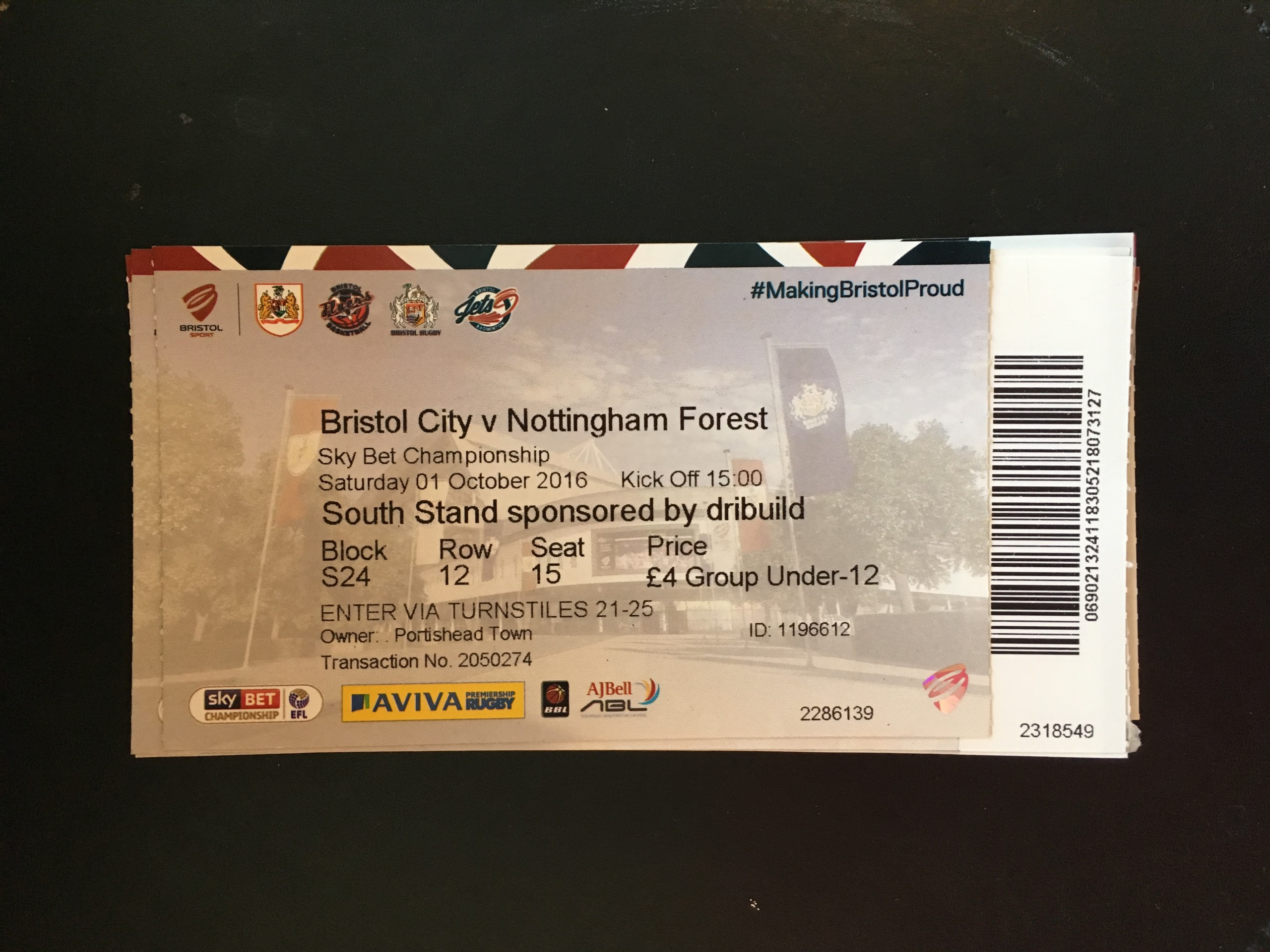 Bristol City v Nottingham Forest 01-10-2016 Ticket