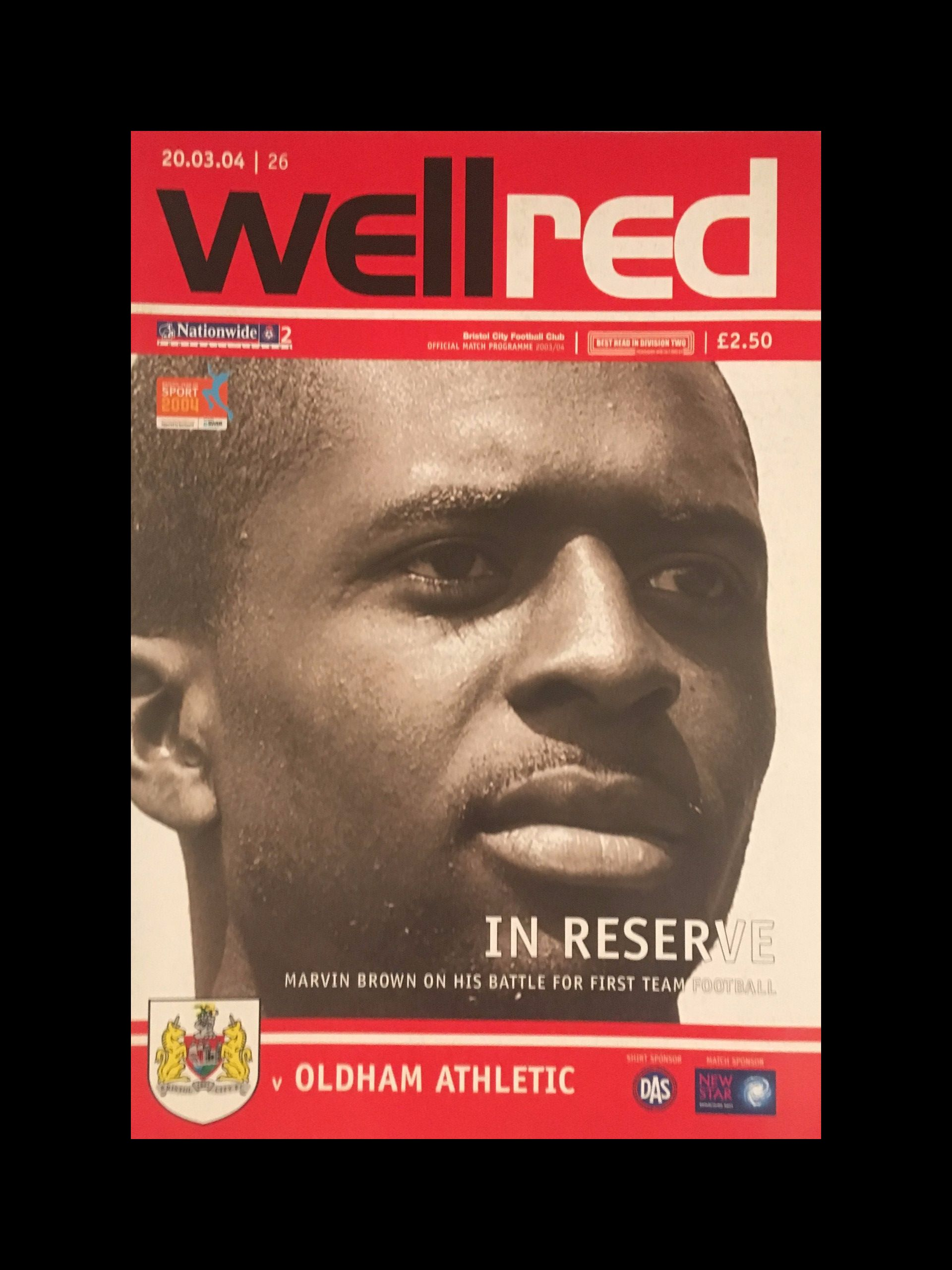 Bristol City v Oldham Athletic 20-03-2004 Programme