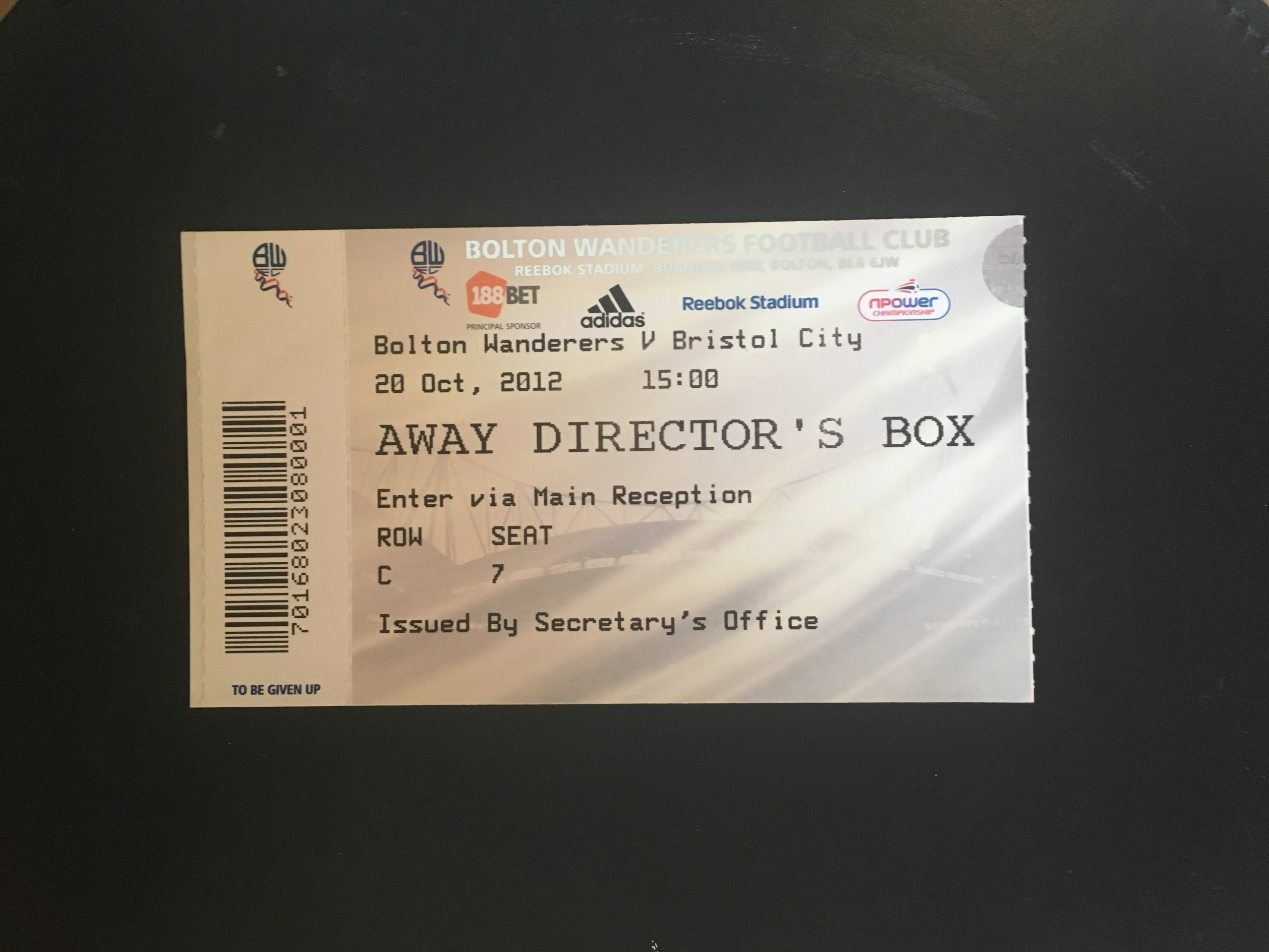 Bolton Wanderers v Bristol City 20-10-12 Ticket
