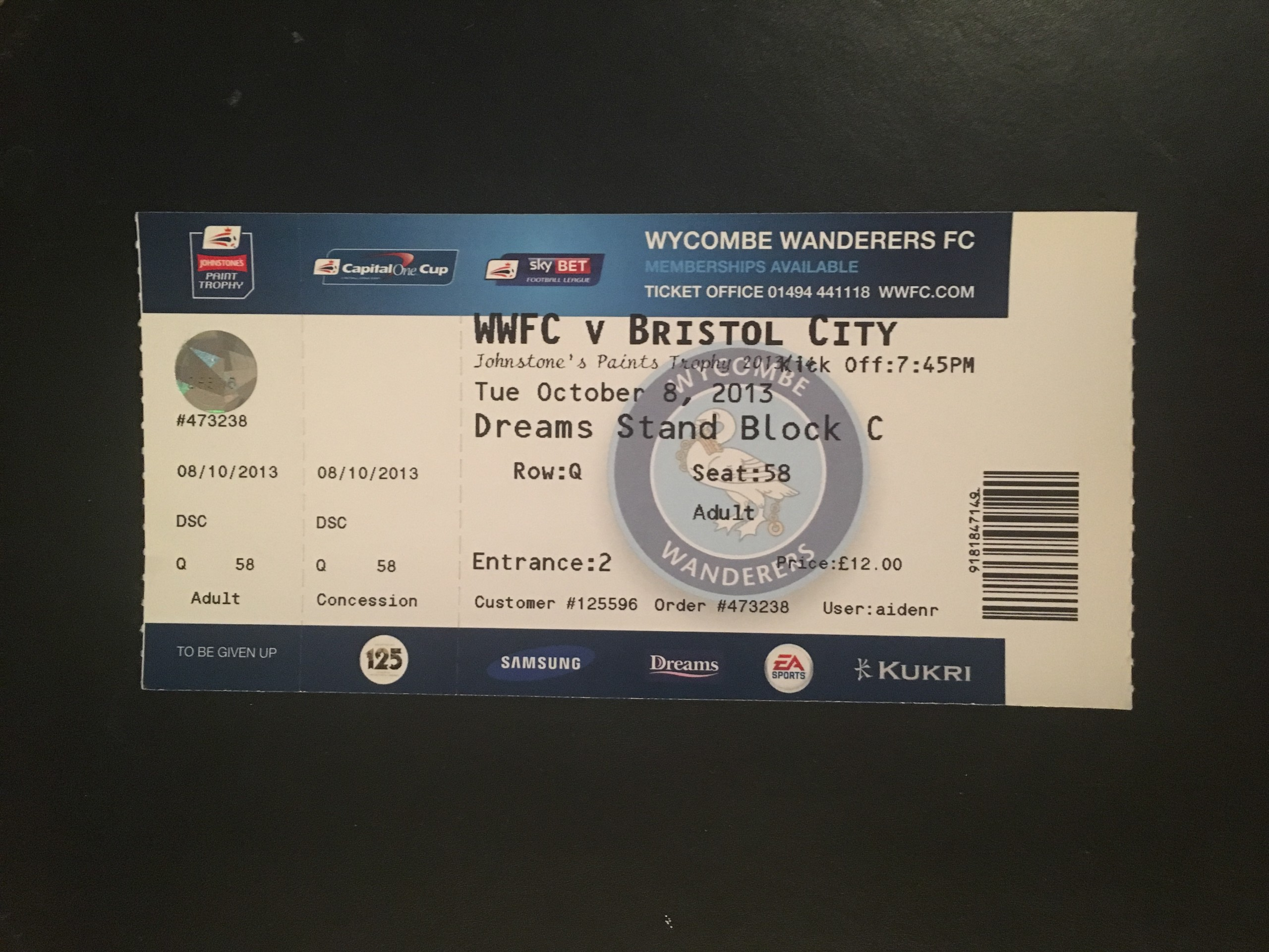 Wycombe Wanderers v Bristol City 08-10-2013 Ticket