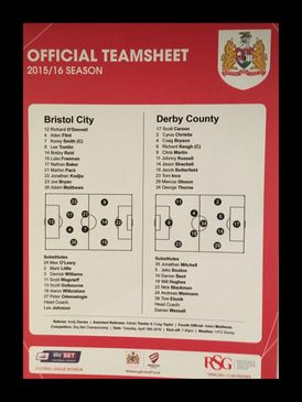 Bristol City v Derby County 19-04-2016 Team Sheet
