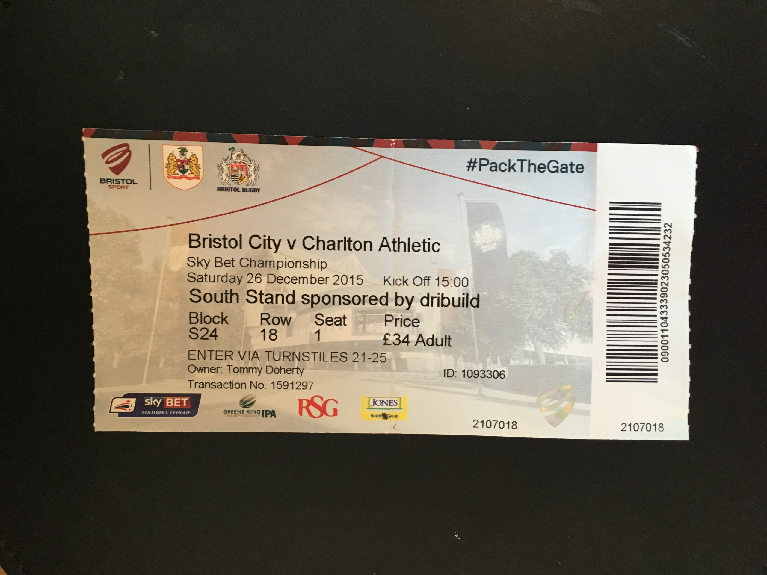 Bristol City v Charlton Athletic 26-12-2015 Ticket