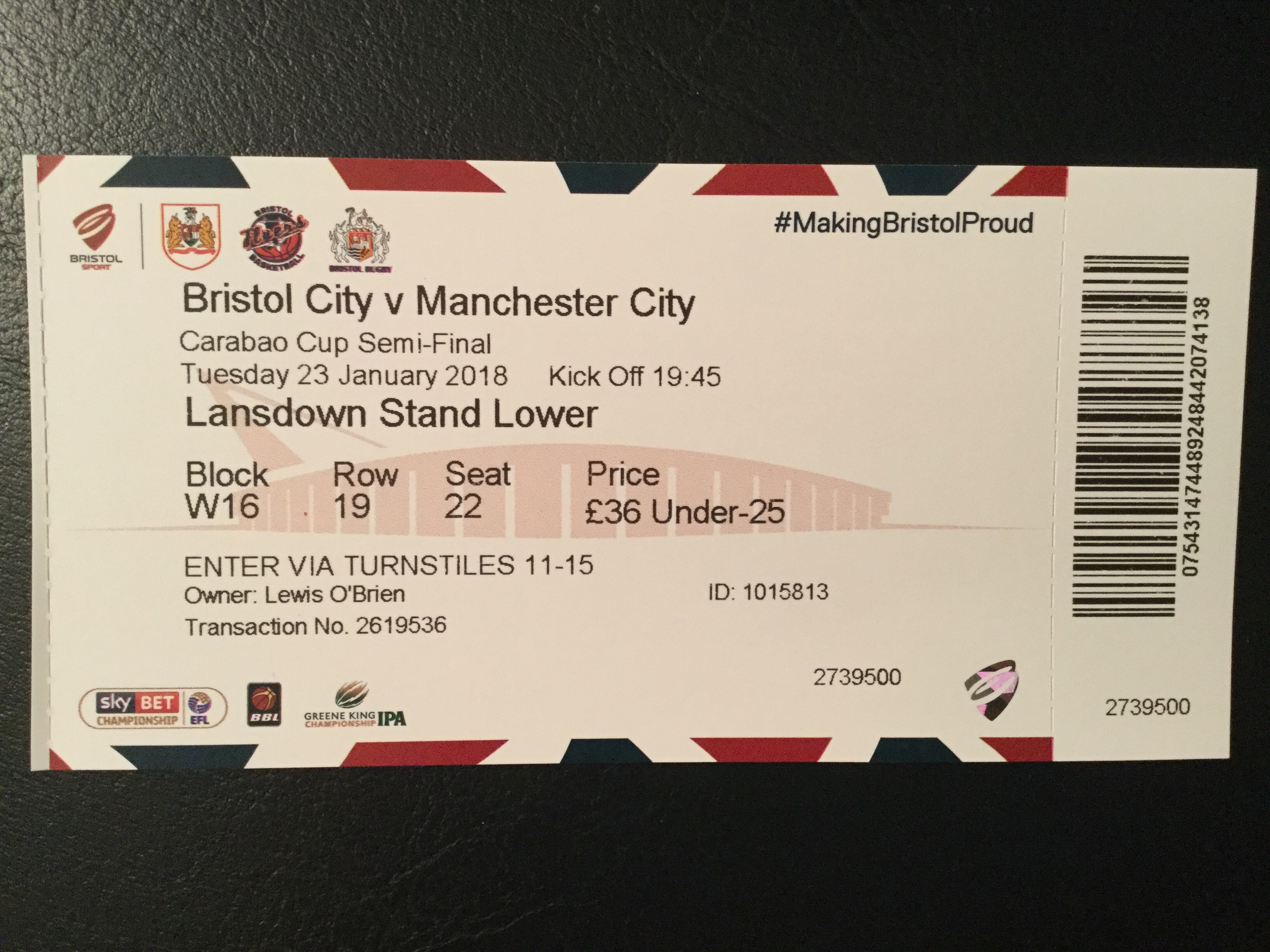 Bristol City v Manchester City 23-01-18 Ticket