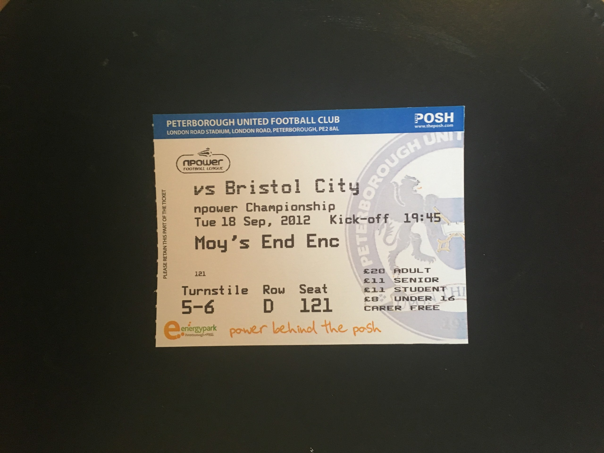 Peterborough United v Bristol City 18-09-12 Ticket