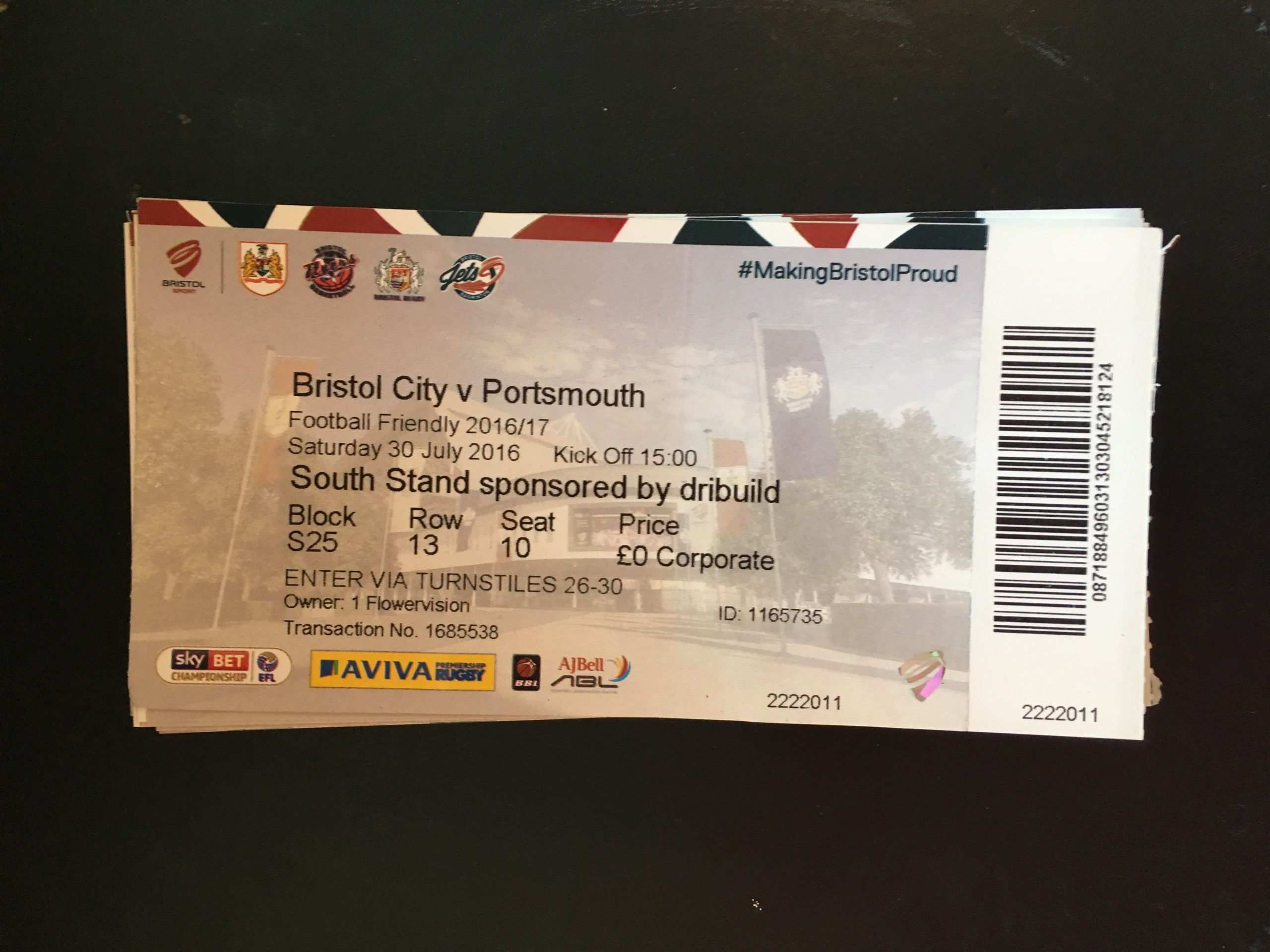 Bristol City v Portsmouth 30-07-2016 Ticket