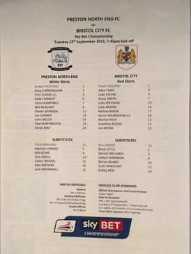 Preston North End v Bristol City 15-09-2015 Team Sheet