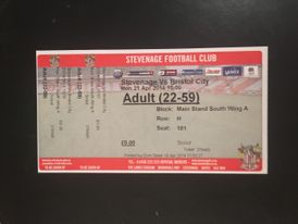 Stevenage v Bristol City 21-04-2014 Ticket