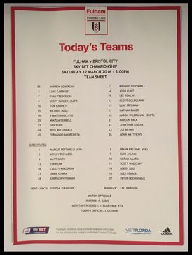 Fulham v Bristol City 12-03-2016 Team Sheet