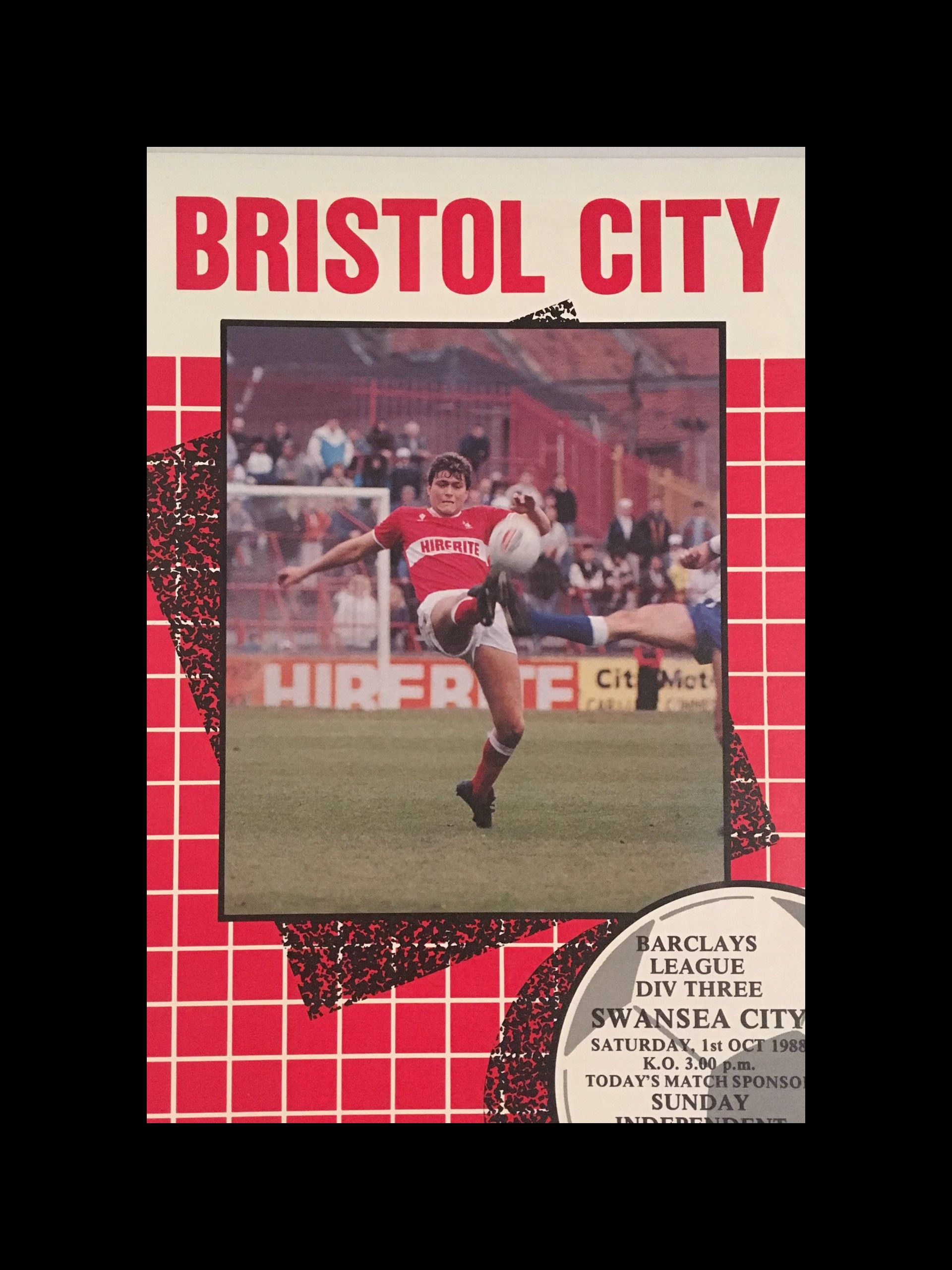 Bristol City v Swansea City 01-10-1988 Programme