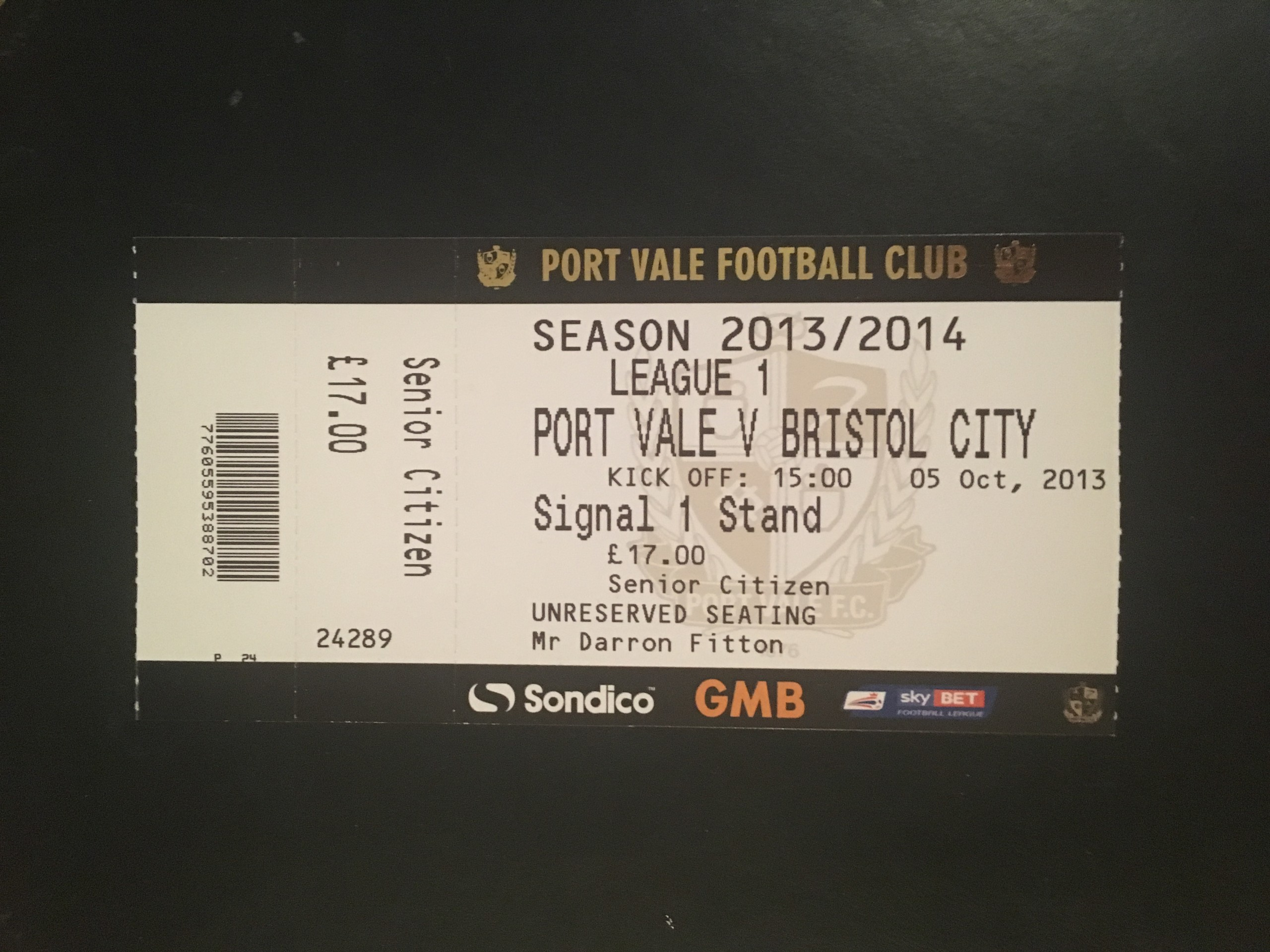 Port Vale v Bristol City 05-10-2013 Ticket