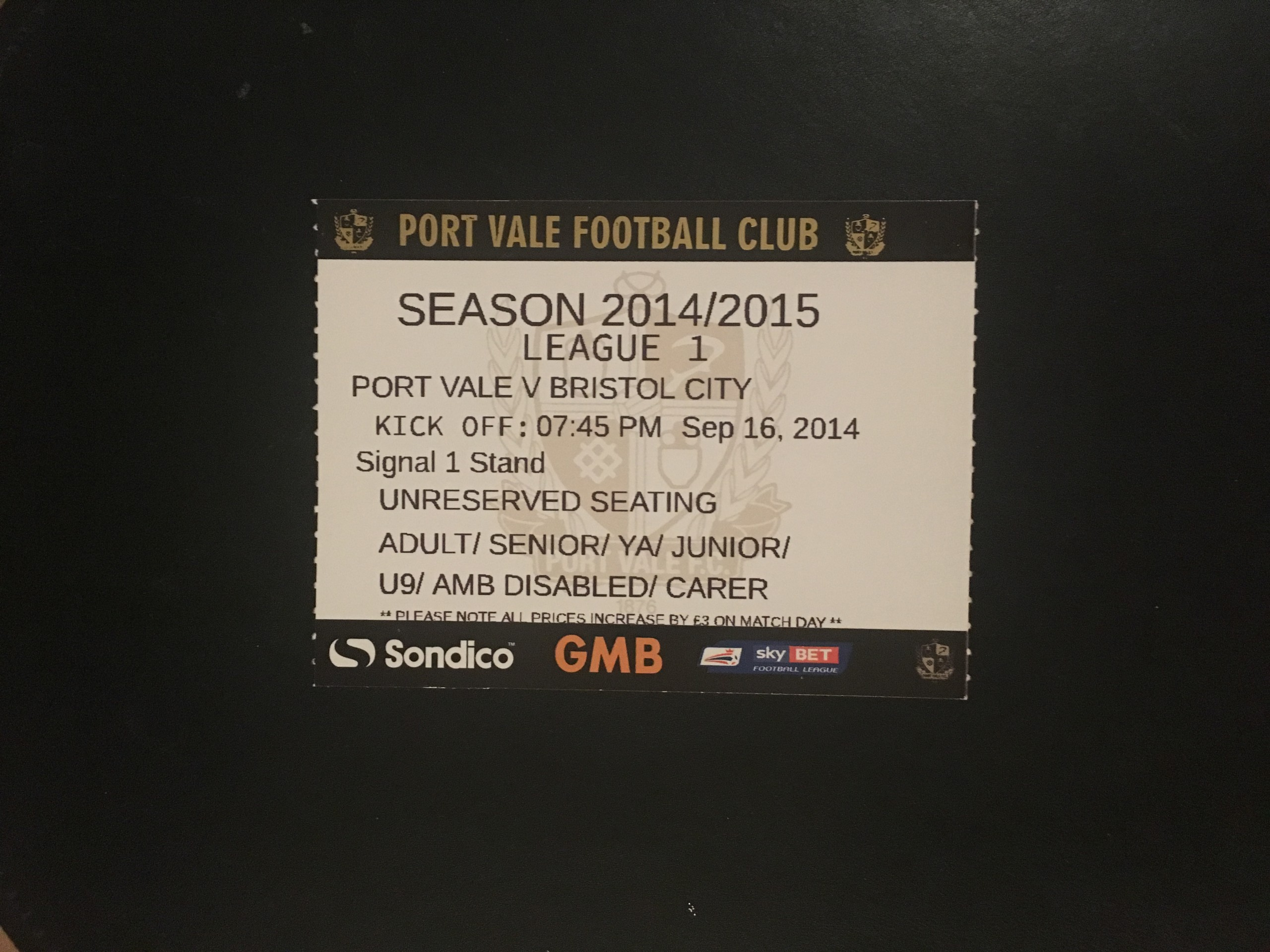 Port Vale v Bristol City 16-09-2014 Ticket