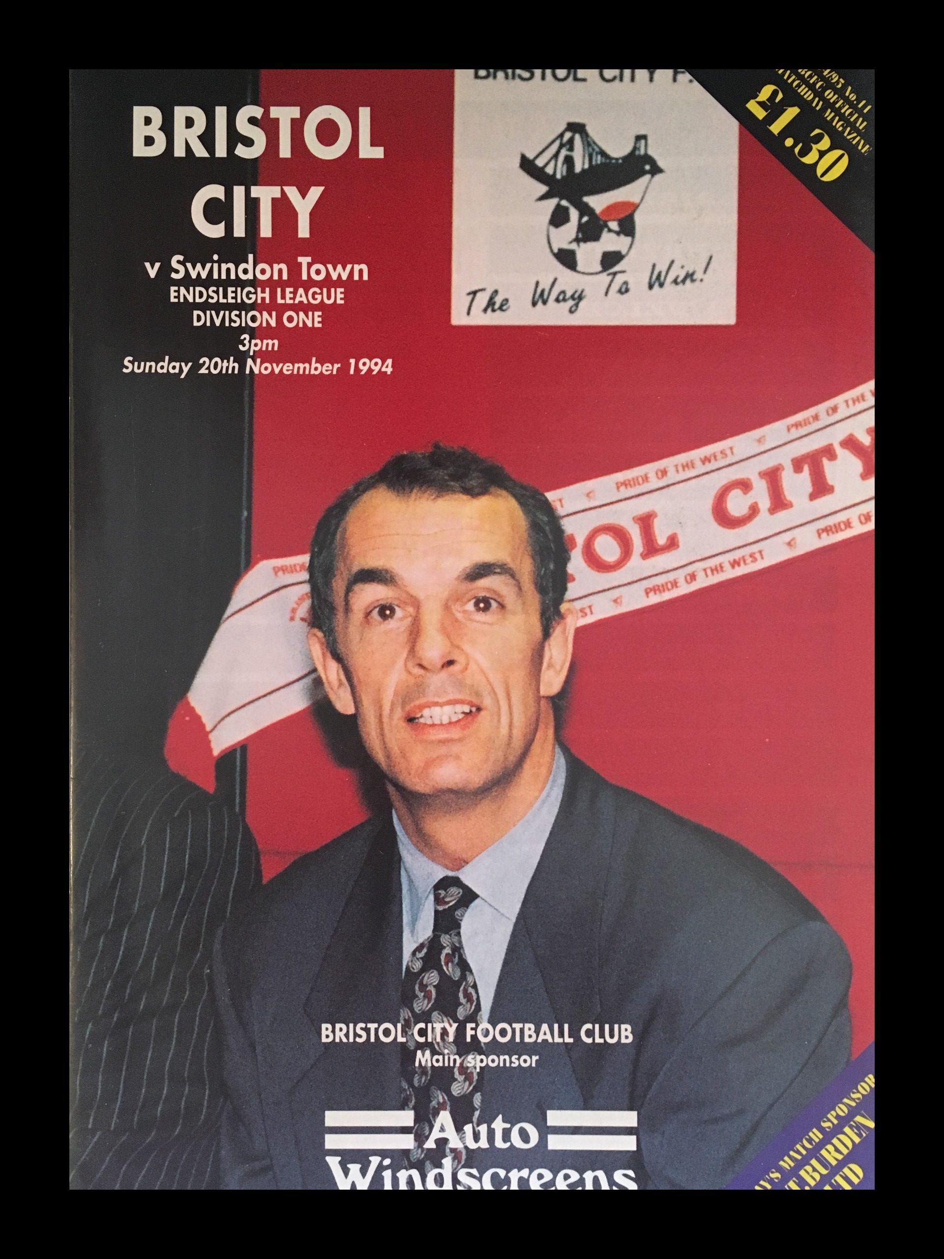 Bristol City v Swindon Town 20-11-1994 Programme
