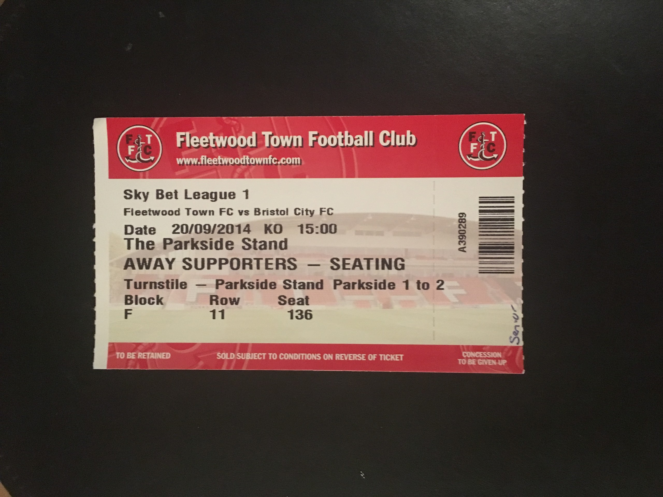 Fleetwood Town v Bristol City 20-09-2014 Ticket