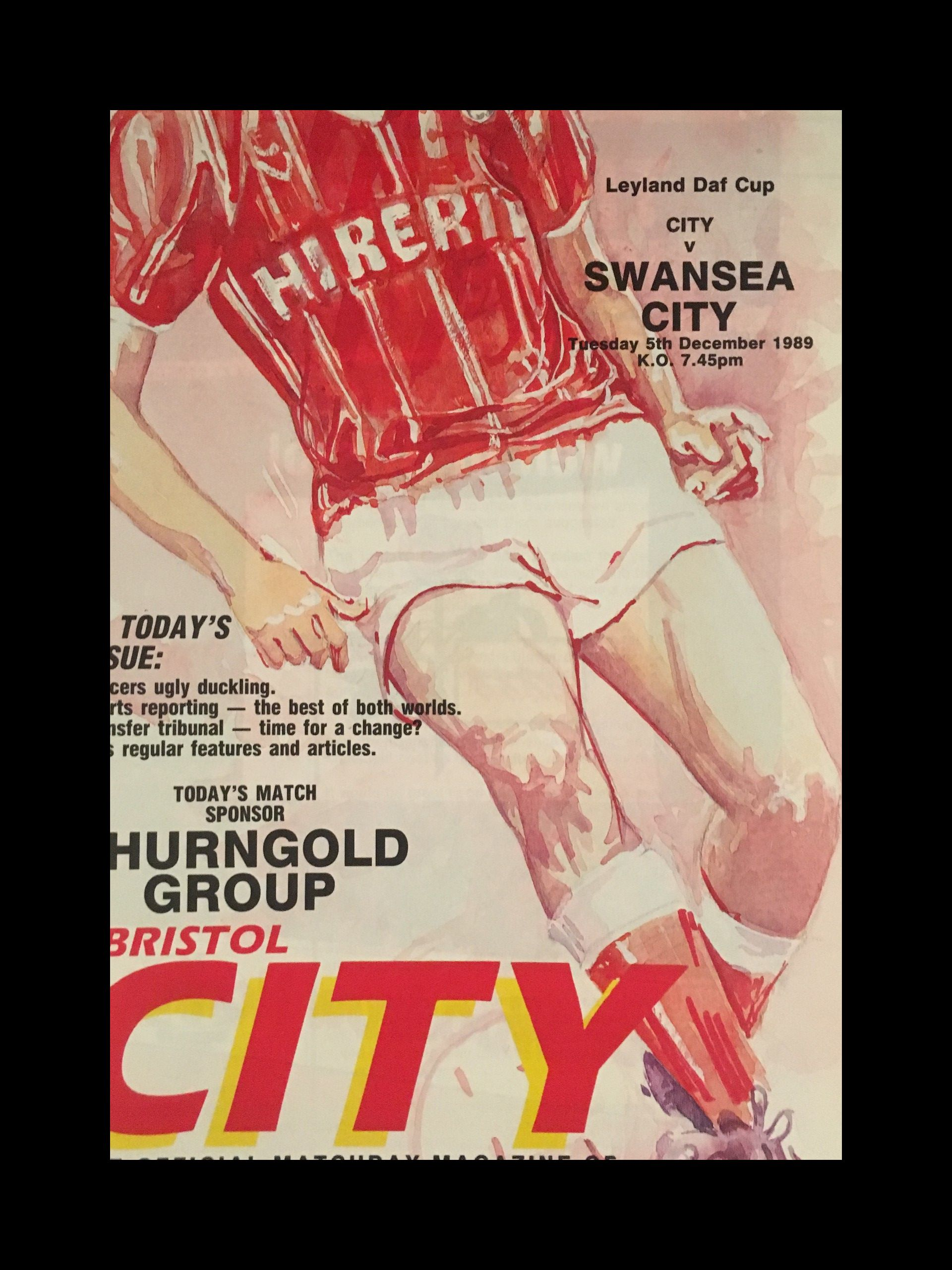Bristol City v Swansea City 05-12-1989 Programme