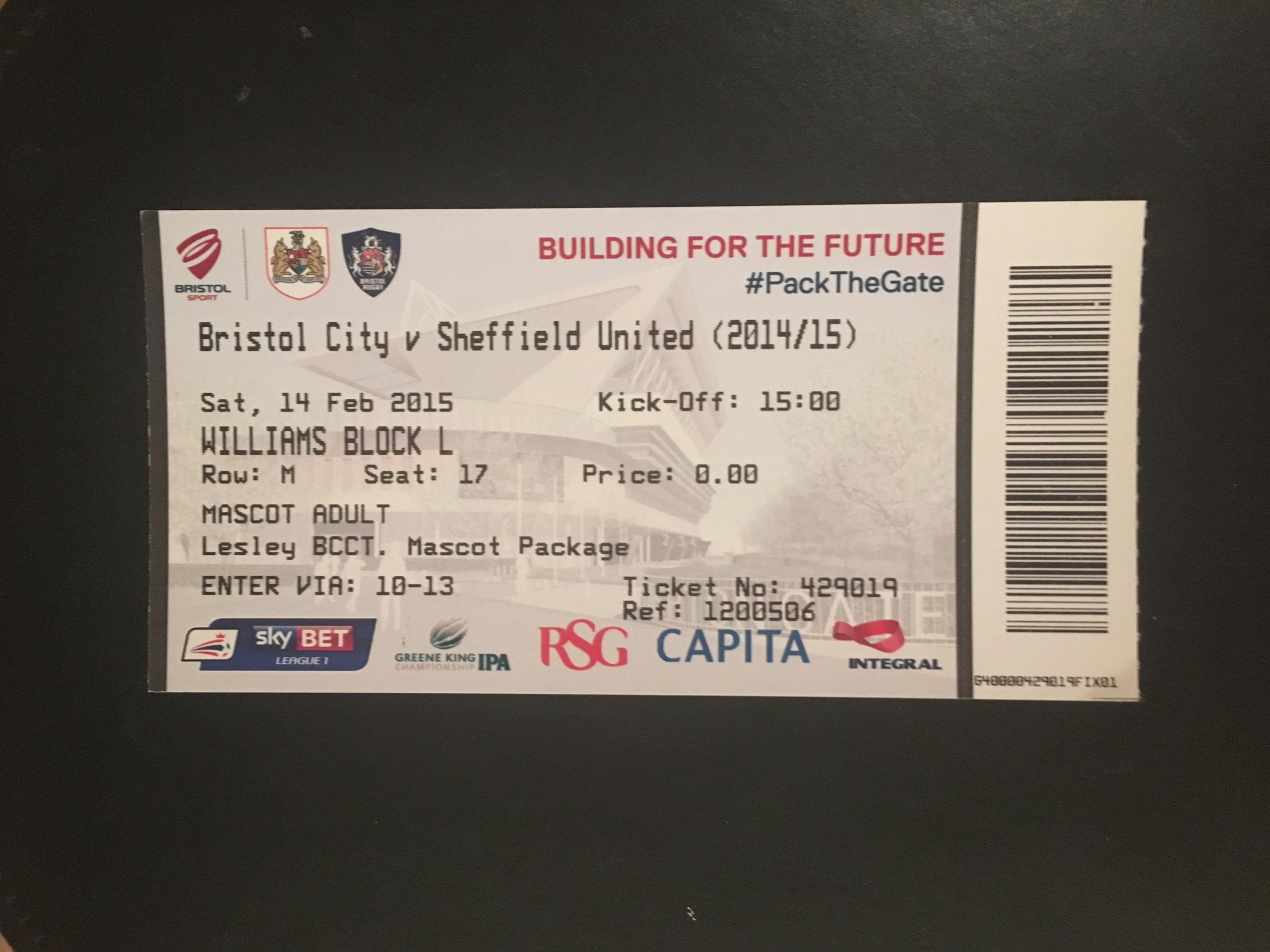 Bristol City v Sheffield United 14-02-2015 Ticket