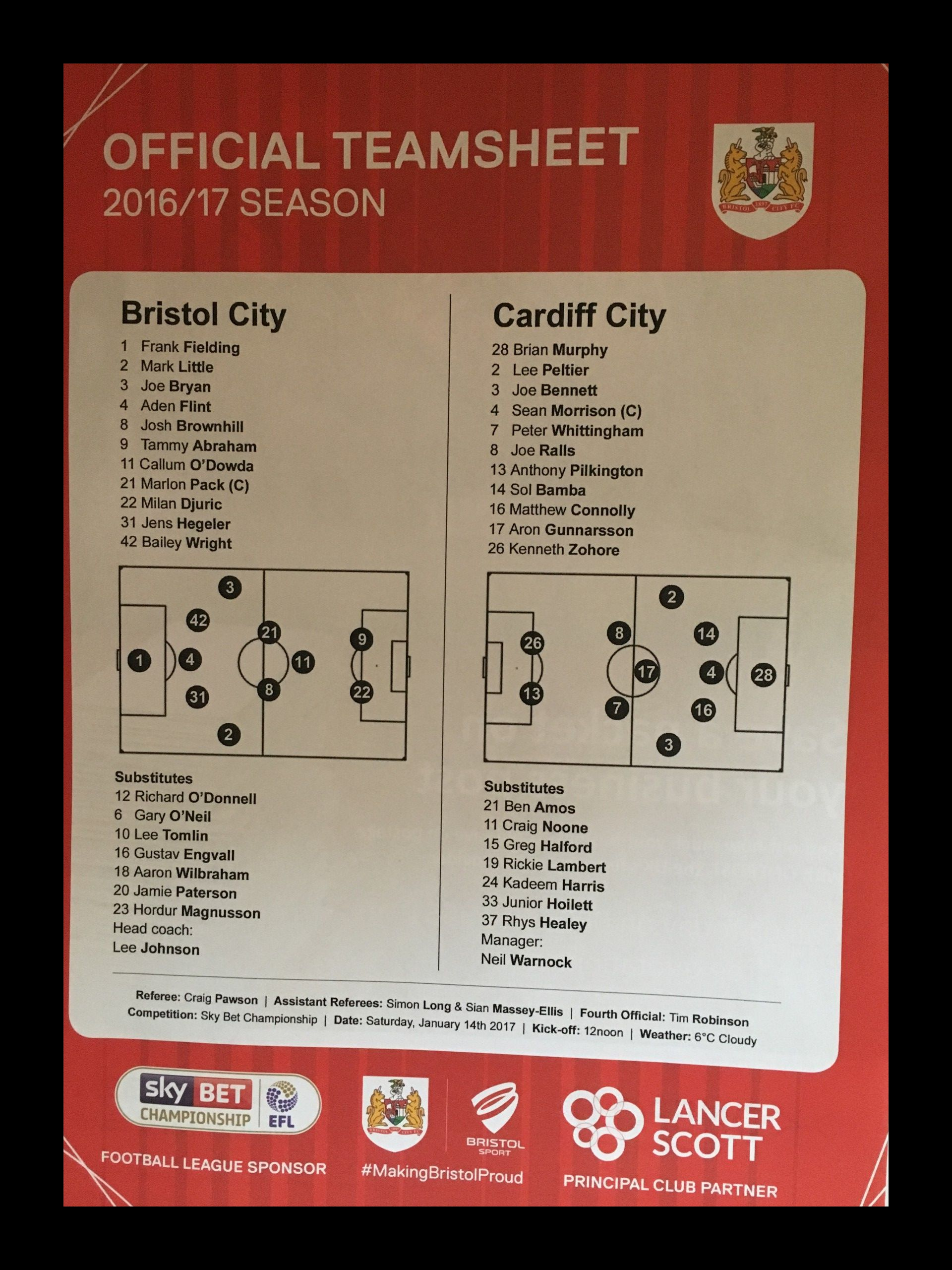 Bristol City v Cardiff City 14-01-17 Team Sheet