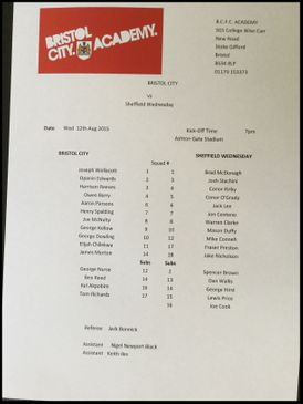 Bristol City v Sheffield Wednesday 12-08-15 Team Sheet