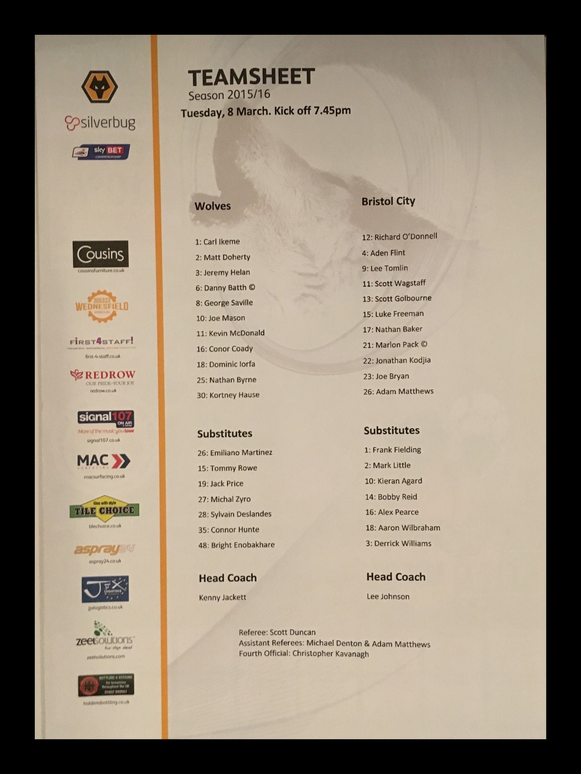 Wolves v Bristol City 08-03-2016 Team Sheet
