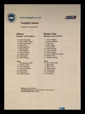 Brighton & Hove Albion v Bristol City 20-10-2015 Team Sheet