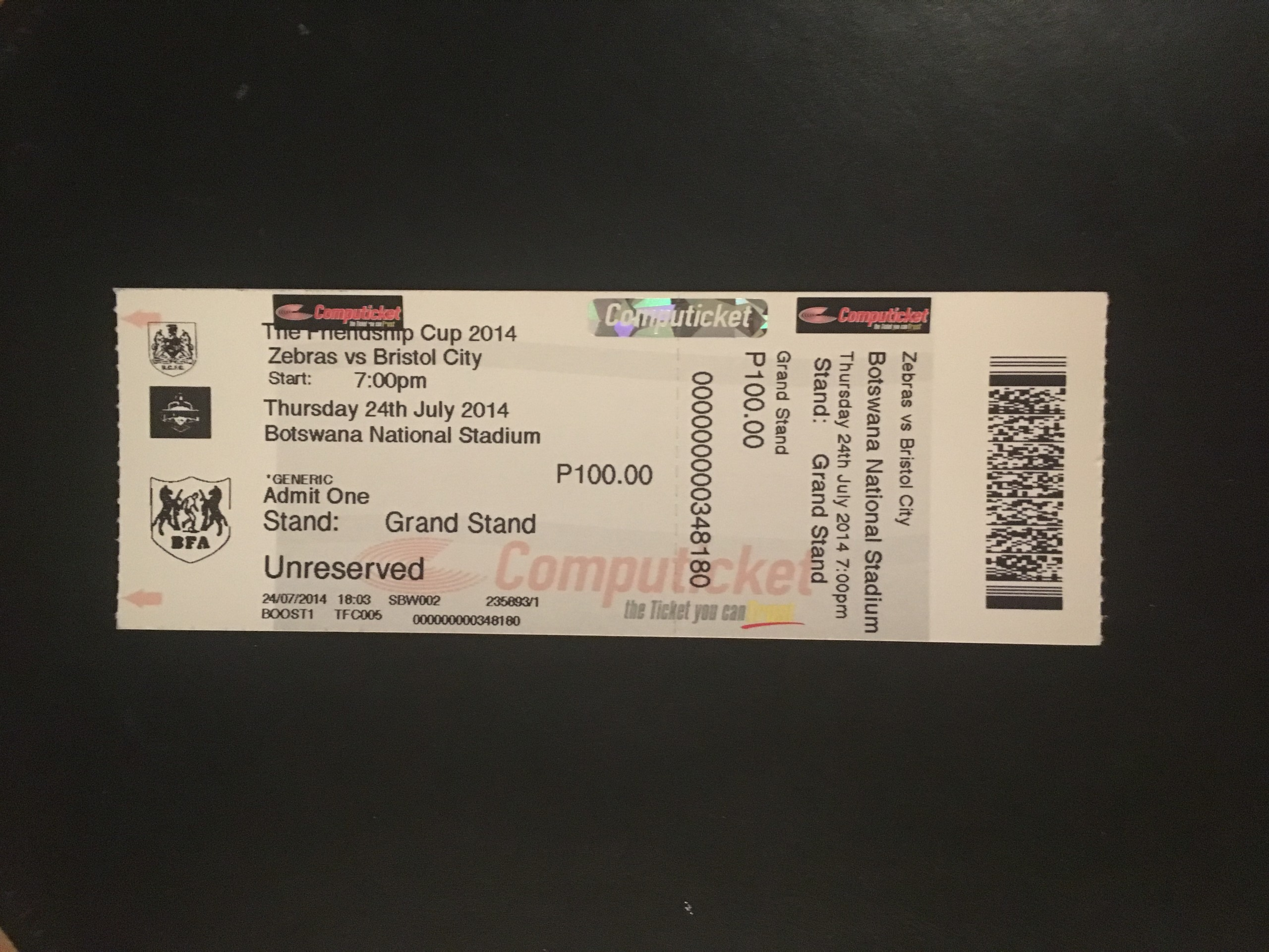 Zebras v Bristol City 24-07-2014 Ticket
