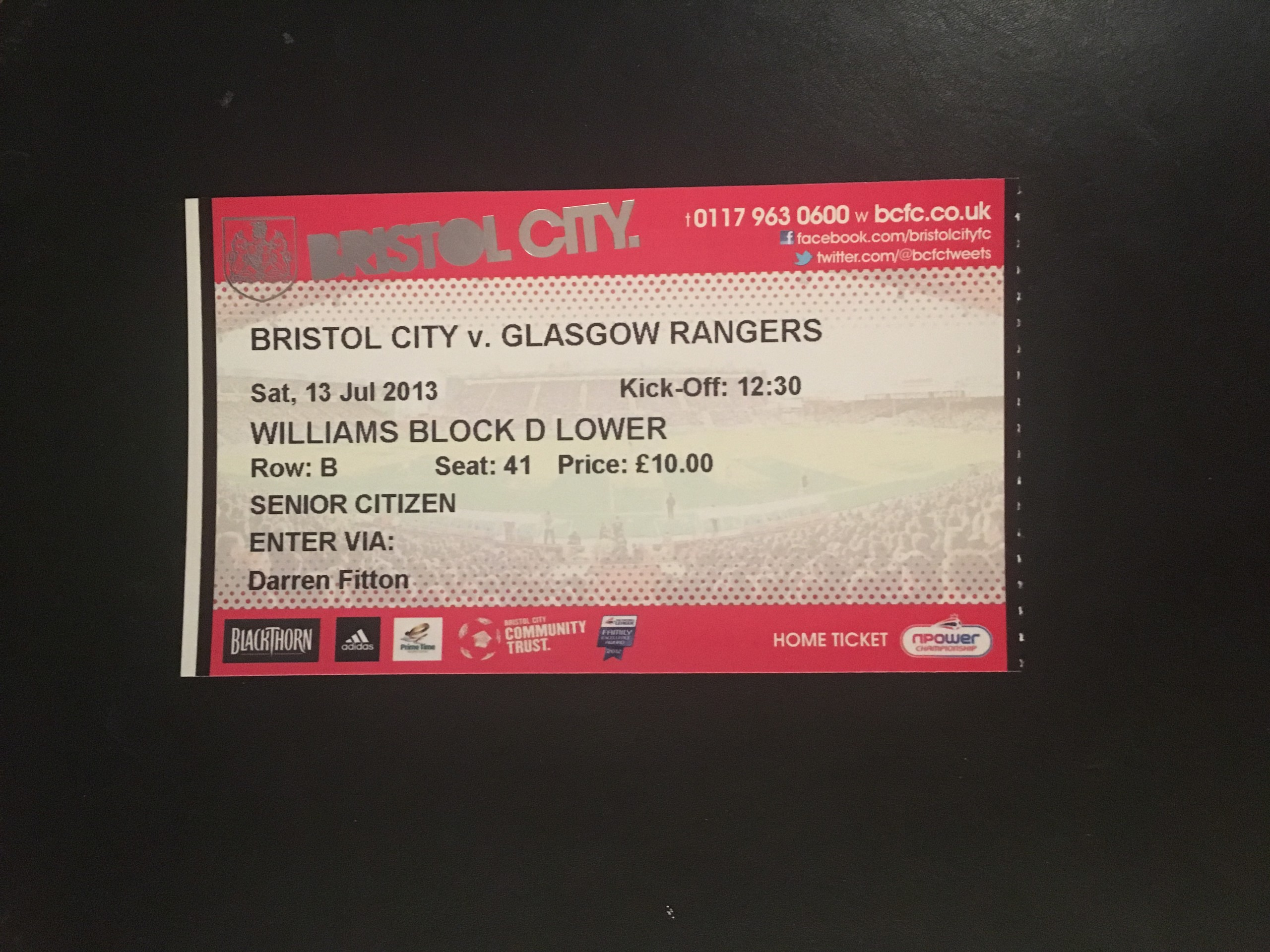 Bristol City v Glasgow Rangers 13-07-2013 Ticket