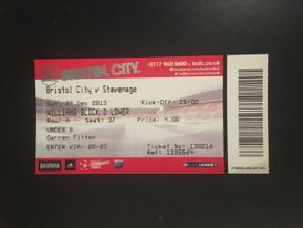 Bristol City v Stevenage 29-12-2013 Ticket