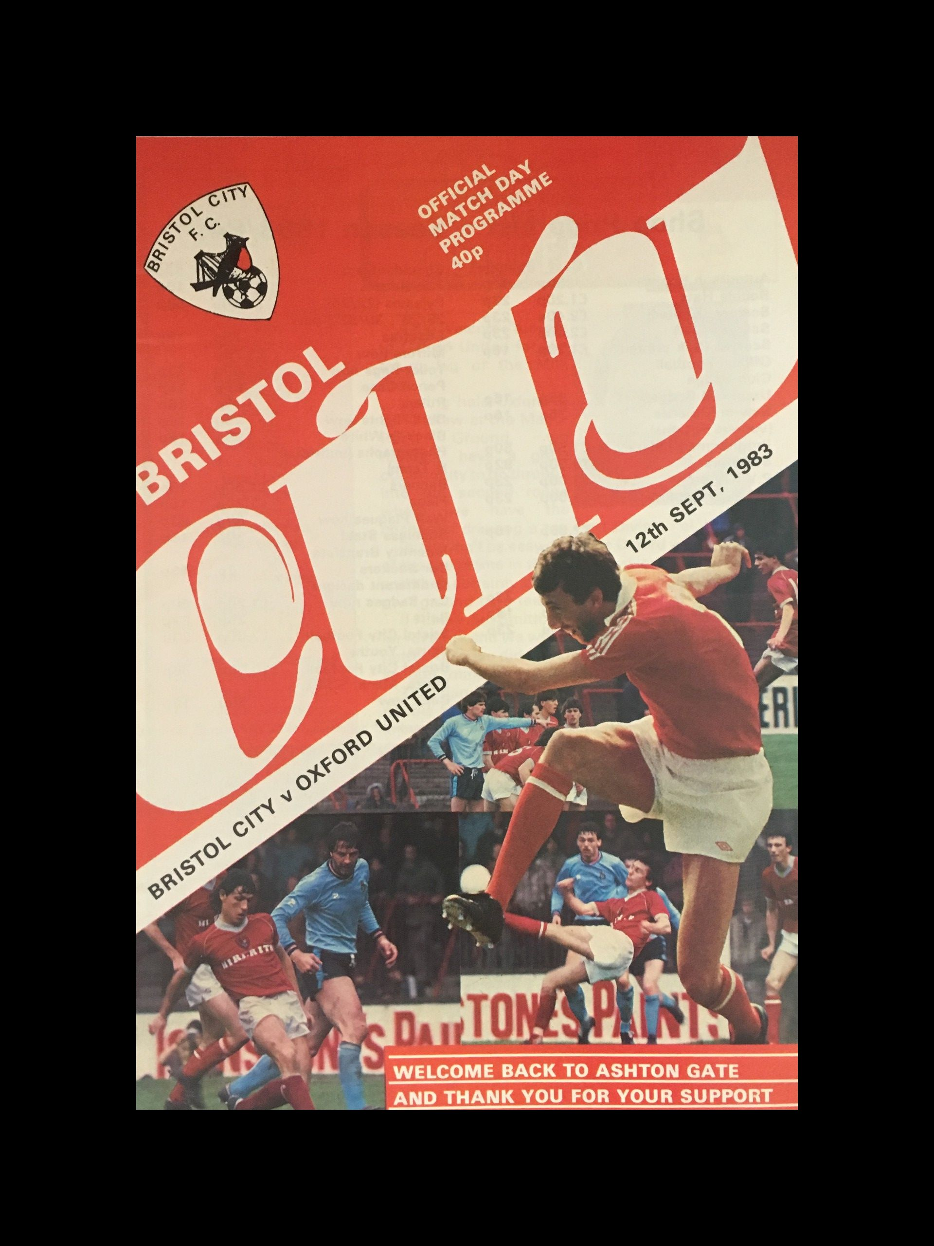 Bristol City v Oxford United 12-09-83 Programme