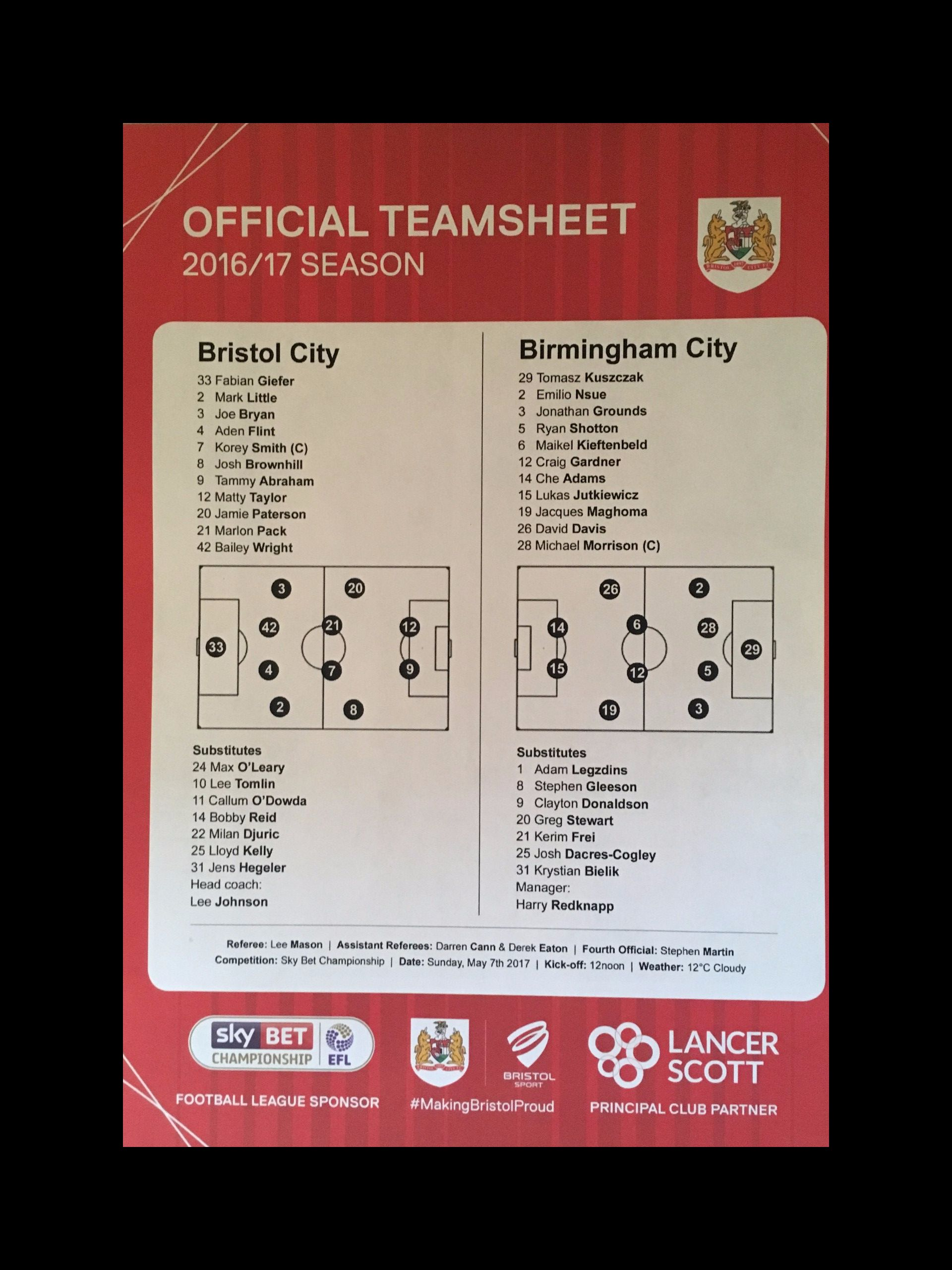 Bristol City v Birmingham City 07-05-17 Team Sheet