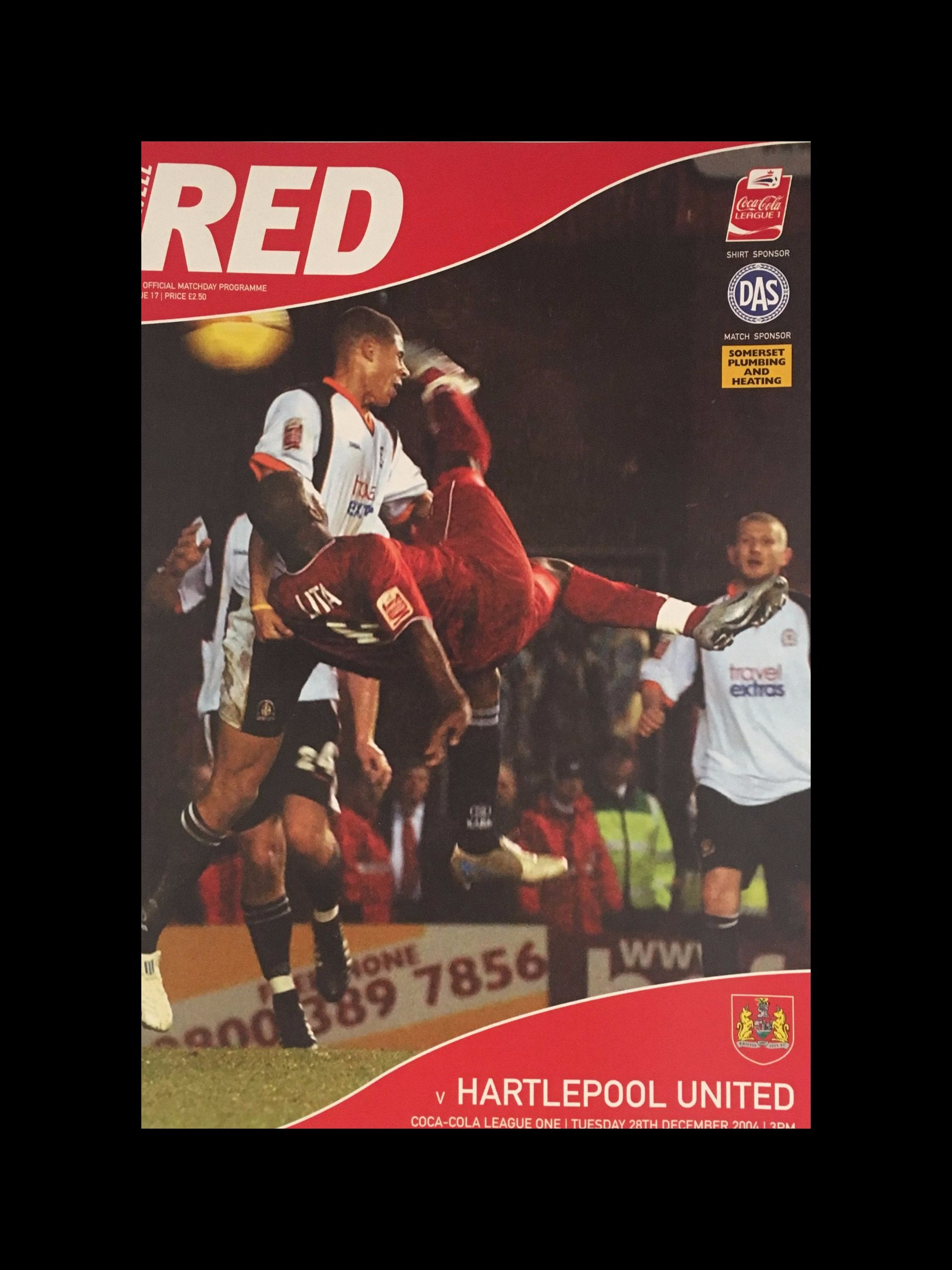 Bristol City v Hartlepool United 28-12-2004 Programme