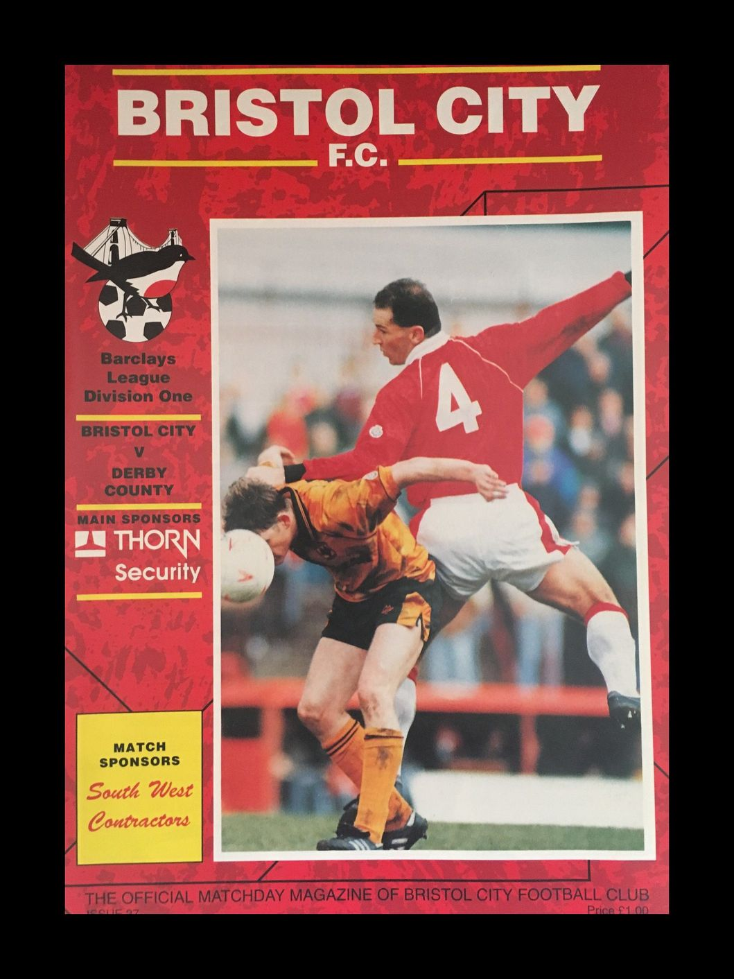 Bristol City v Derby County 20-04-1993 Programme