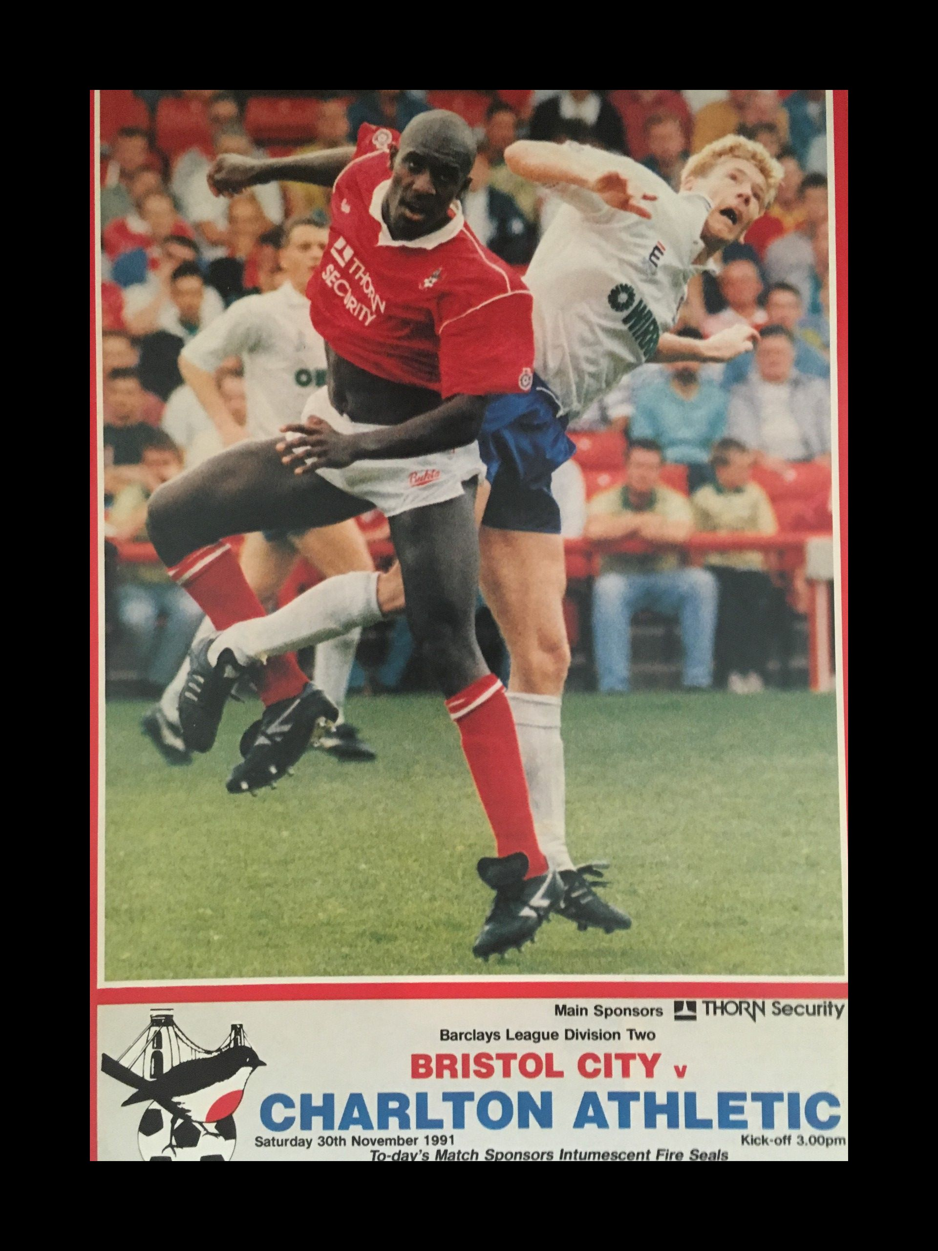 Bristol City v Charlton Athletic 30-11-1991 Programme