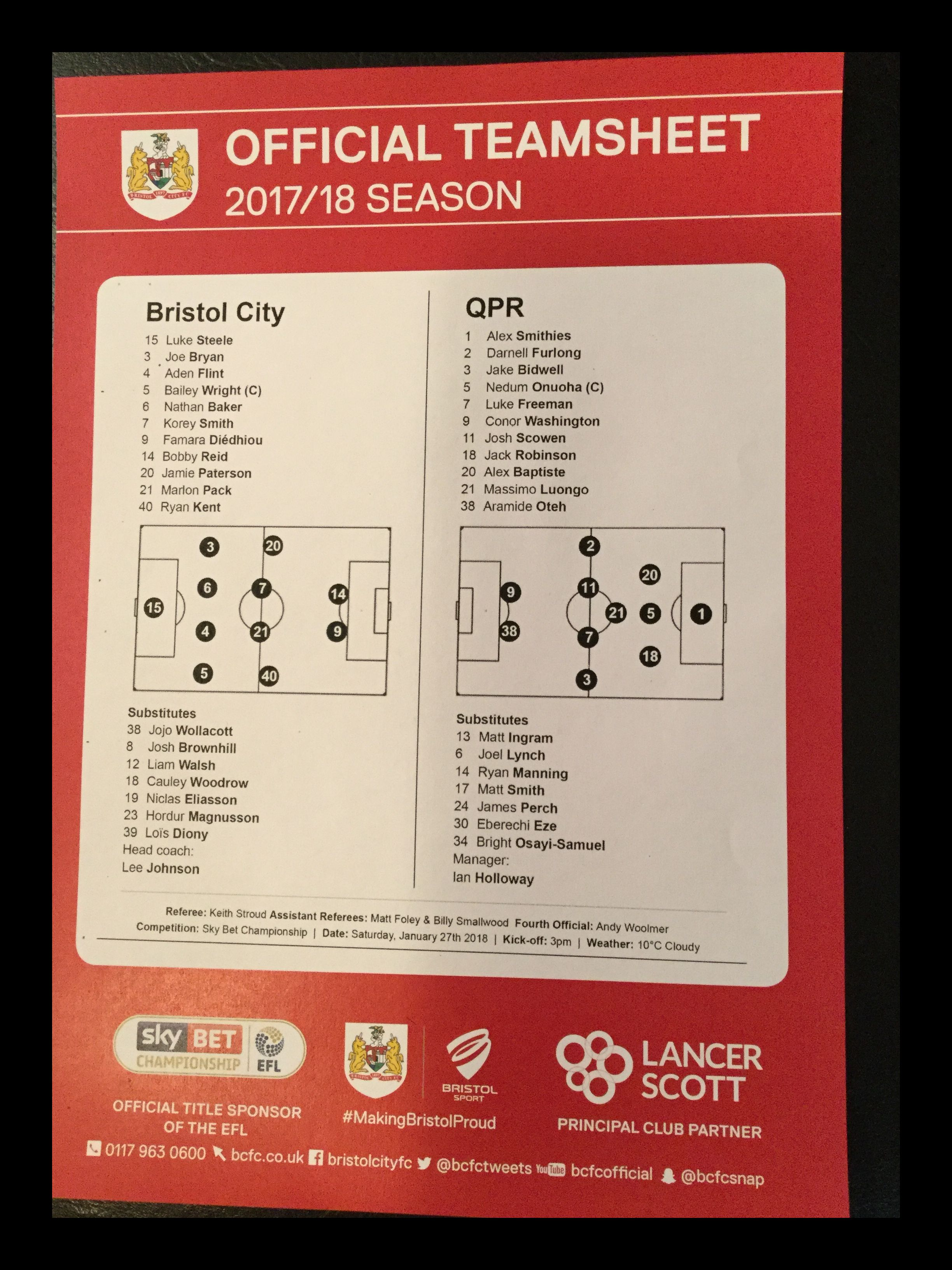 Bristol City v Queens Park Rangers 27-01-18 Team Sheet