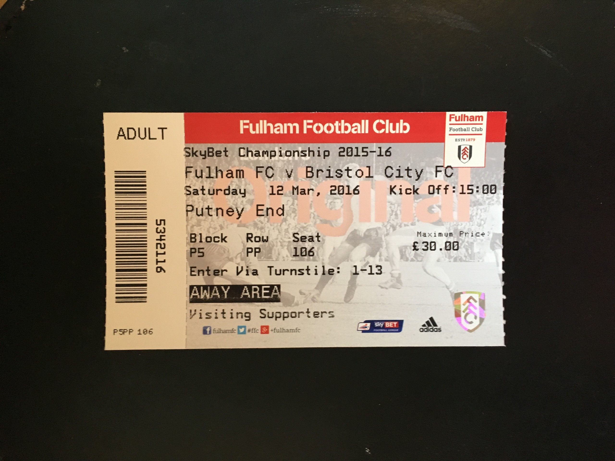 Fulham v Bristol City 12-03-2016 Ticket