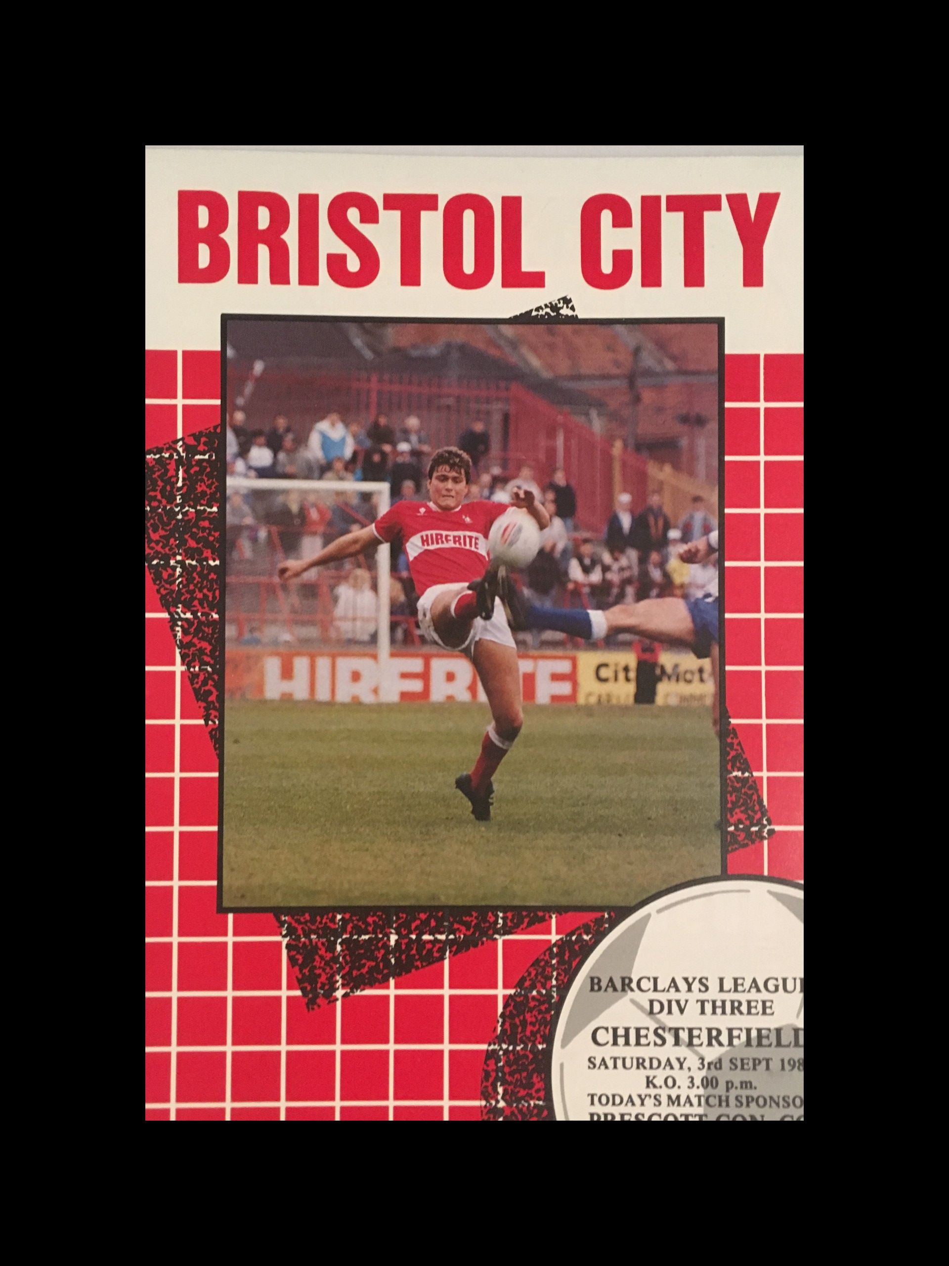 Bristol City v Chesterfield 03-09-1988 Programme