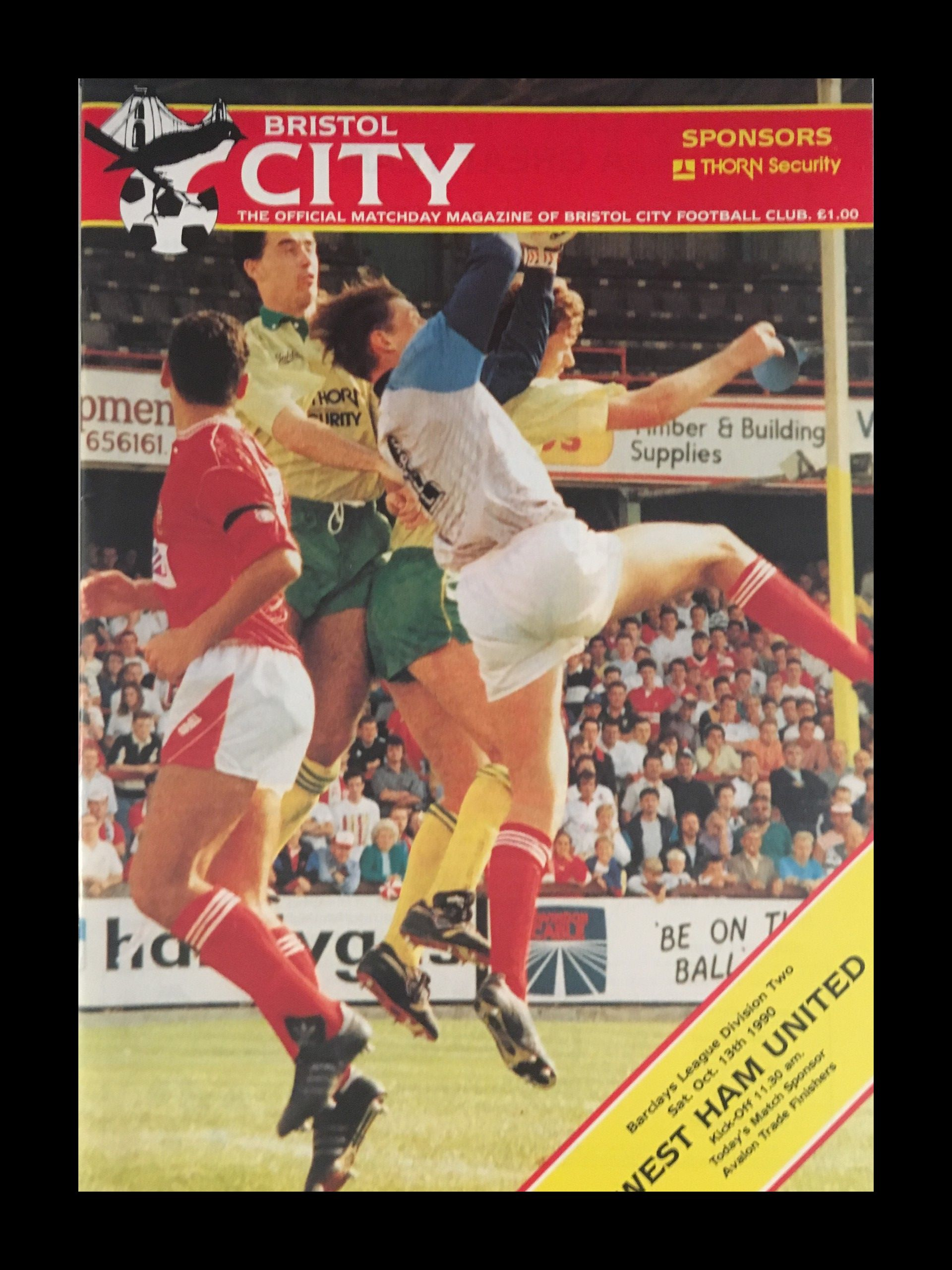 Bristol City v West Ham United 13-10-1990 Programme